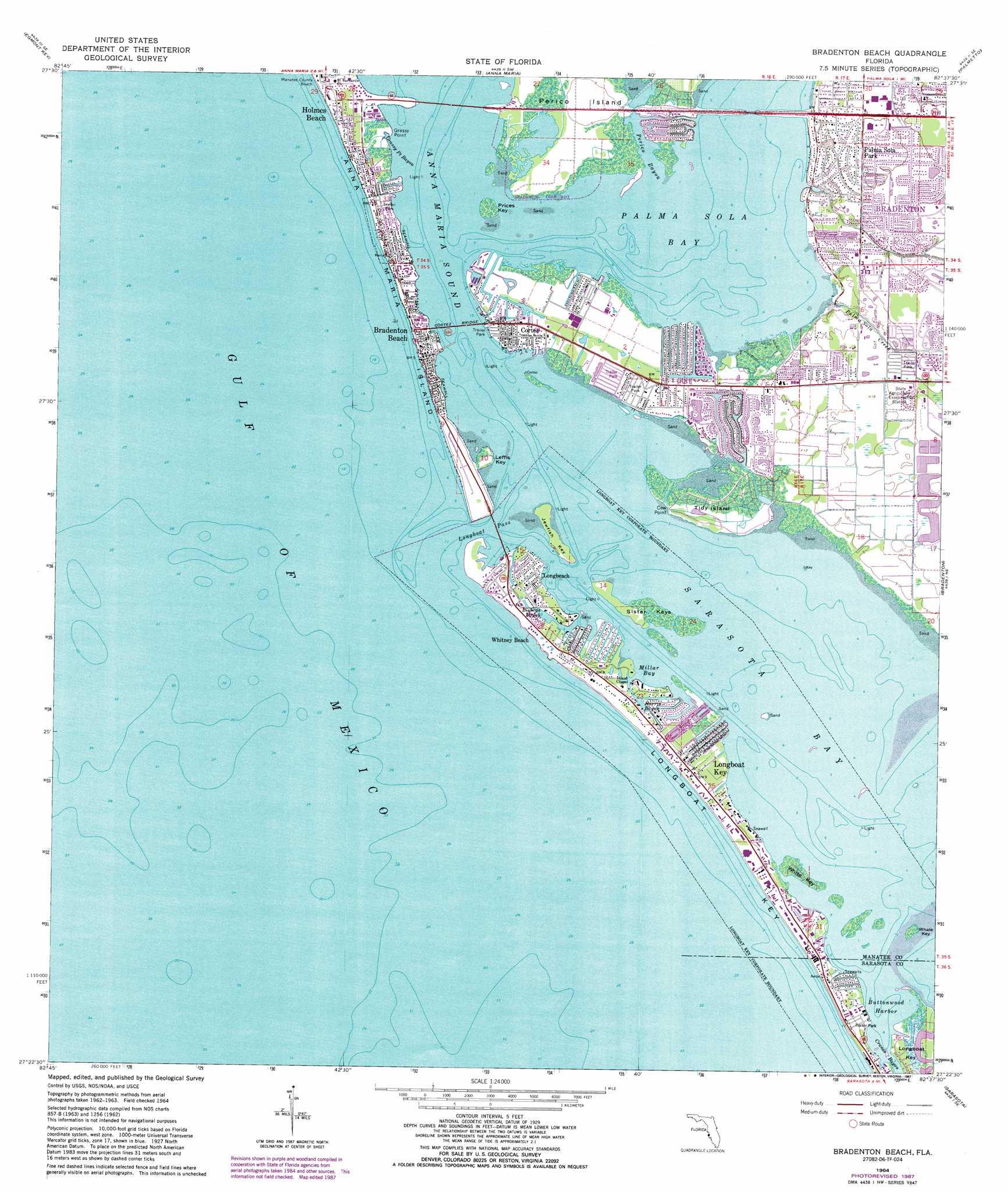 bradenton beach topographic map, fl - usgs topo quad 27082d6