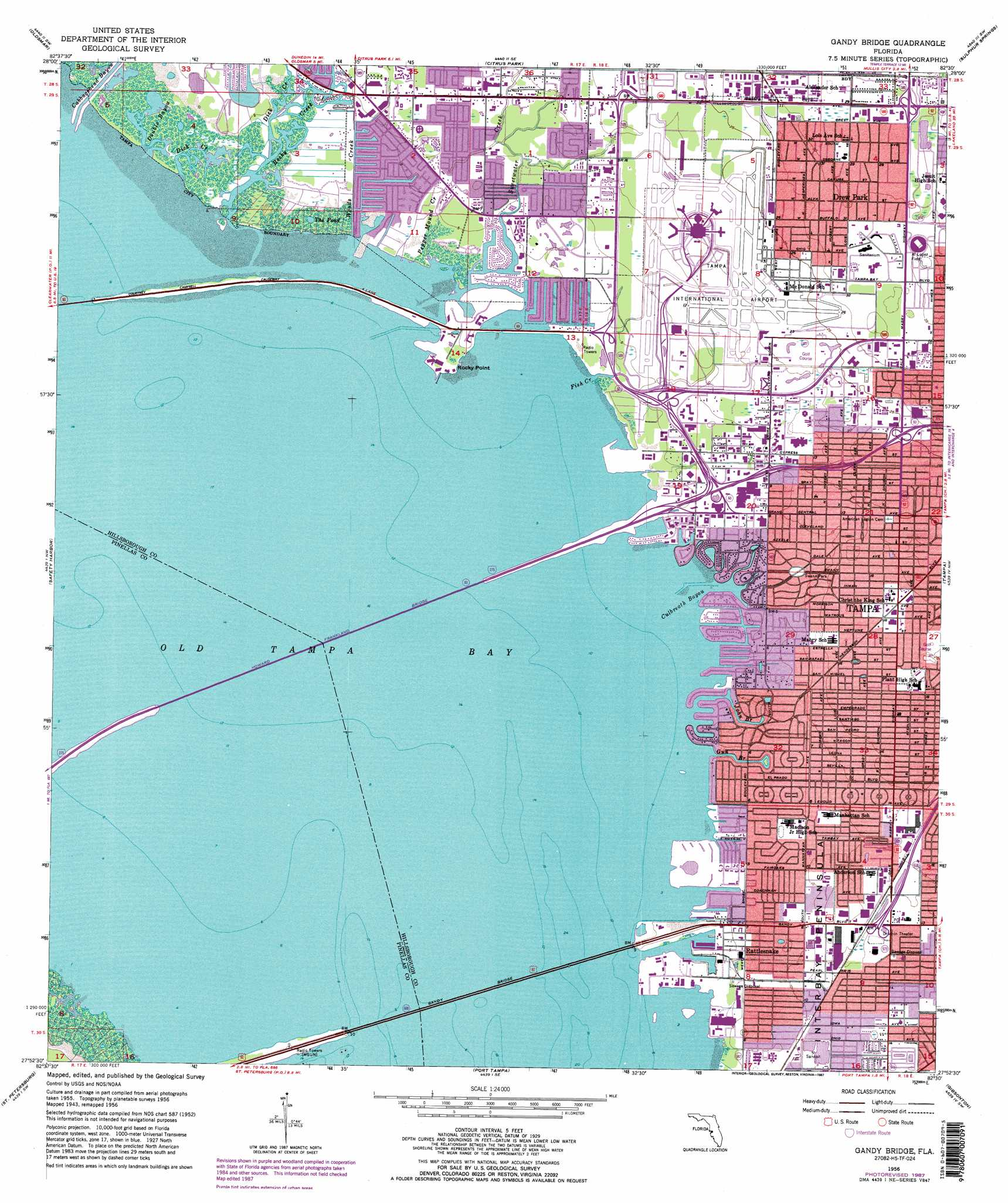 Gandy Bridge Topographic Map FL USGS Topo Quad H - Florida map ruskin