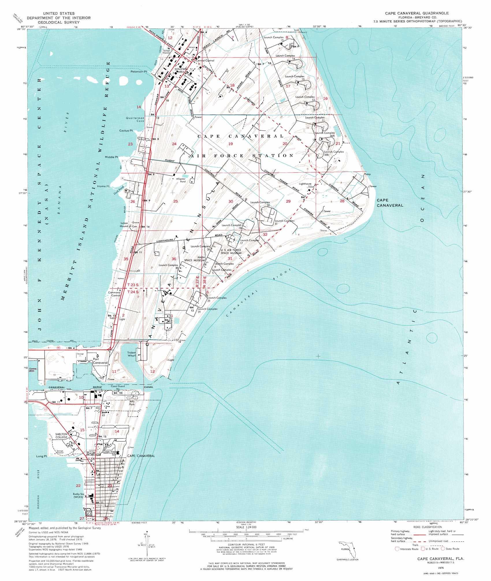 Cape Canaveral Topographic Map FL