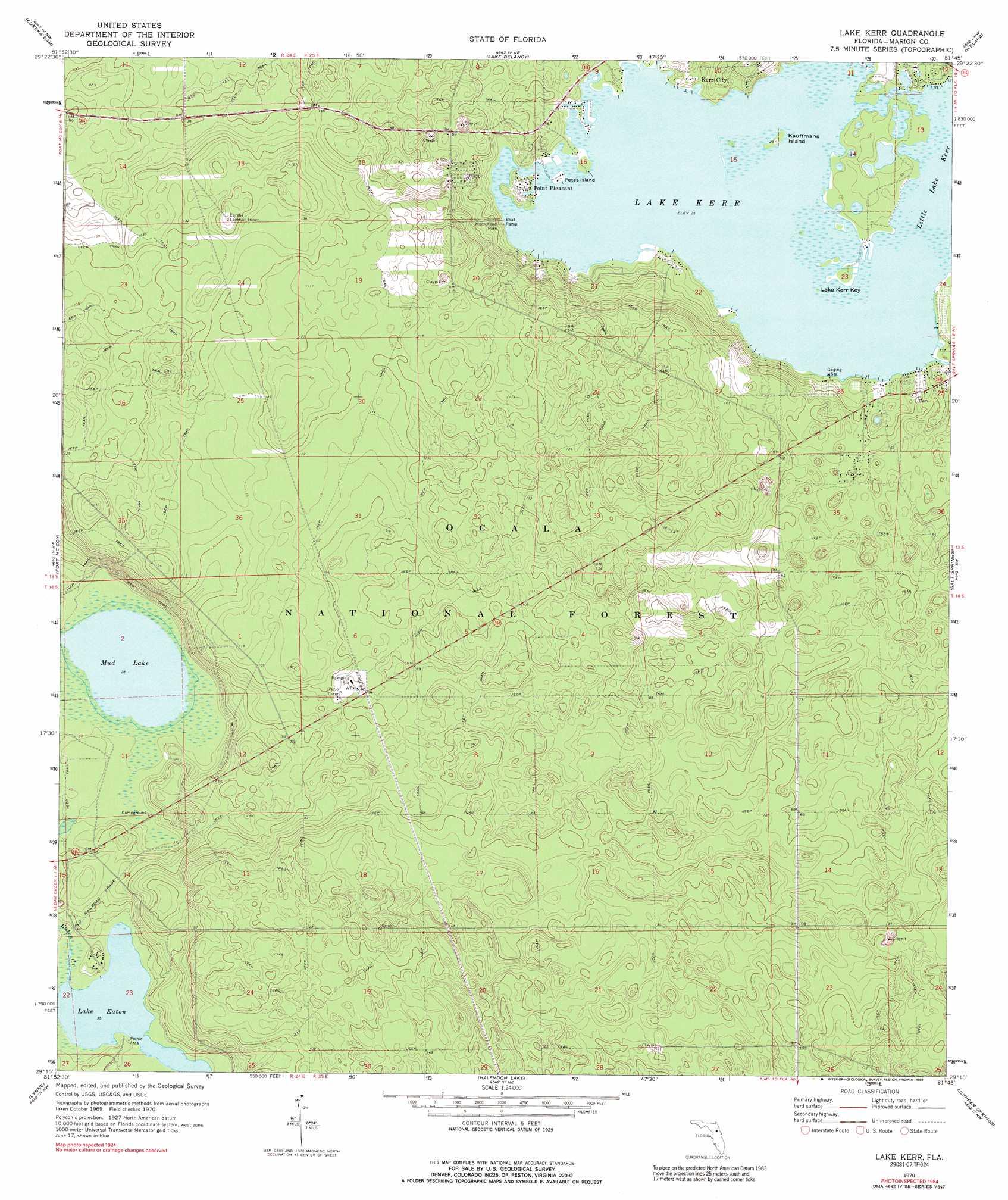 Topographical Map Of Florida.Lake Kerr Topographic Map Fl Usgs Topo Quad 29081c7