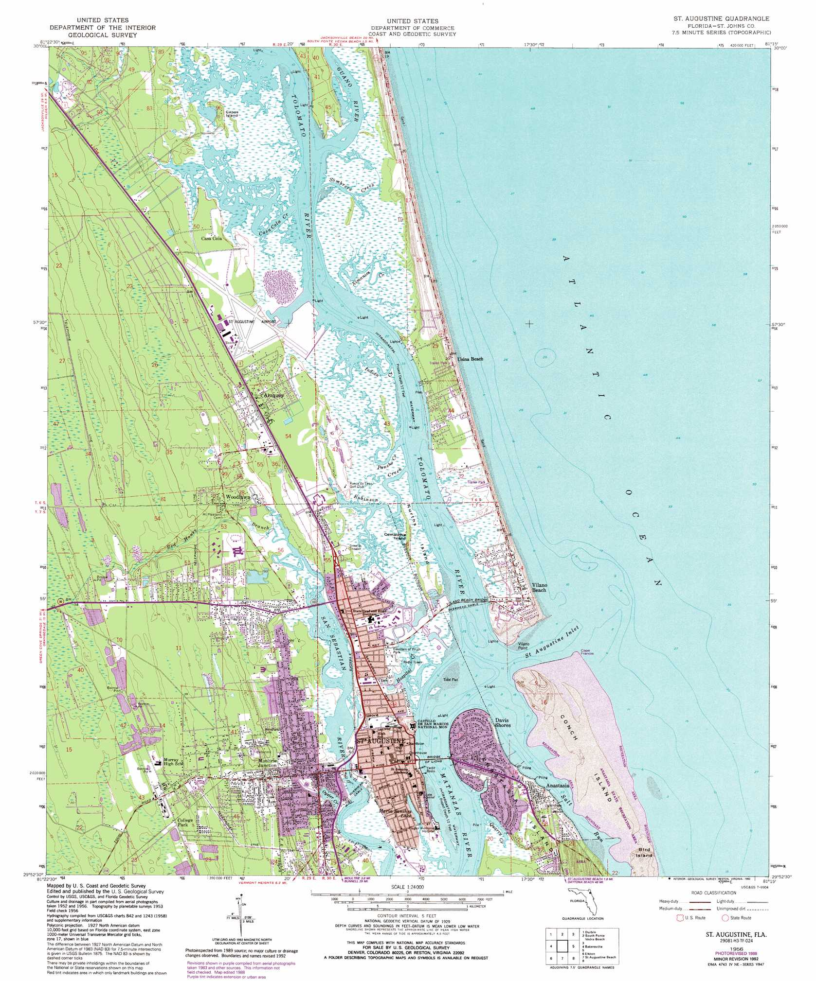 Saint Augustine topographic map, FL - USGS Topo Quad 29081h3 on beaches of st augustine area map, st augustine on map, hotel st. augustine fl map, st. johns county florida map, florida history map, city of st. augustine fl map, lehigh florida map, old st. augustine fl map, sanborn st augustine florida map, red train st augustine map,
