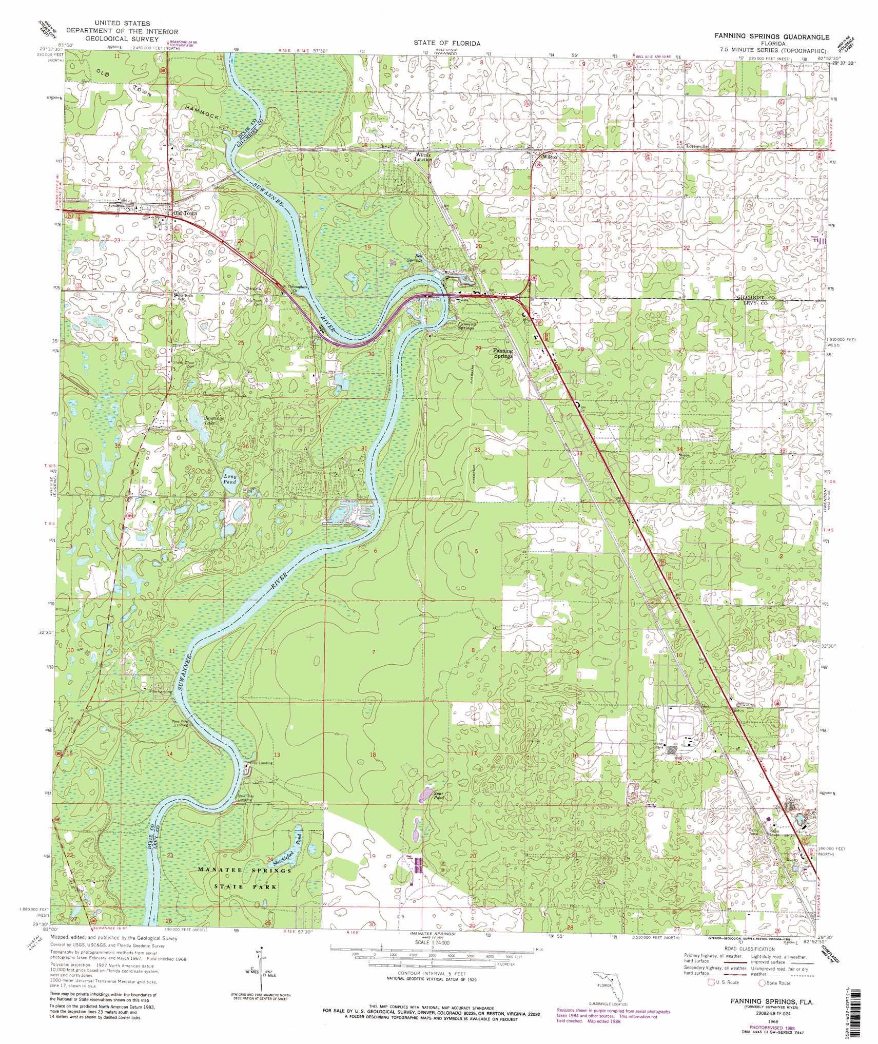 Topo Map Florida.Suwannee River Topographic Map Fl Usgs Topo Quad 29082e8