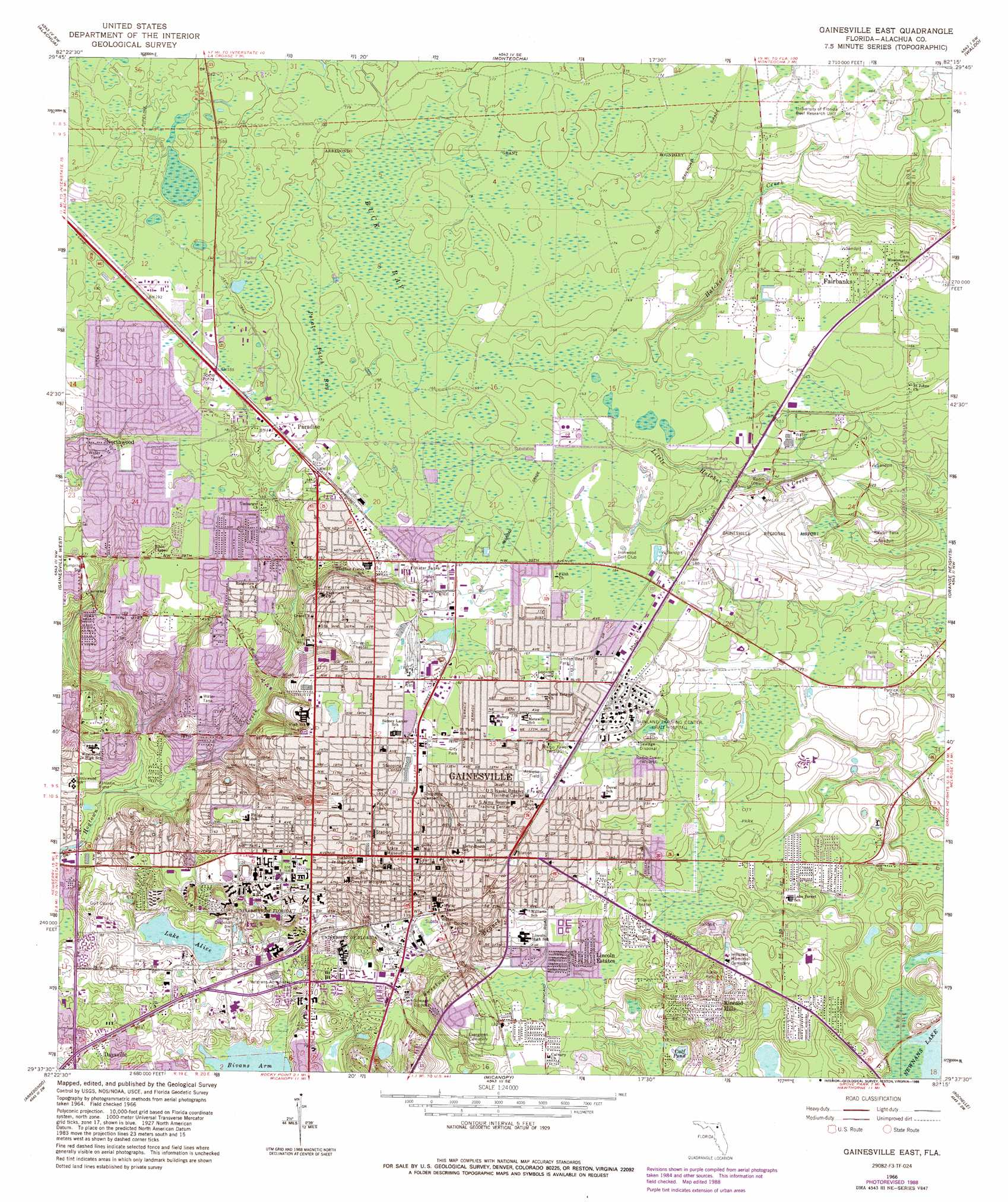 Gainesville East Topographic Map FL