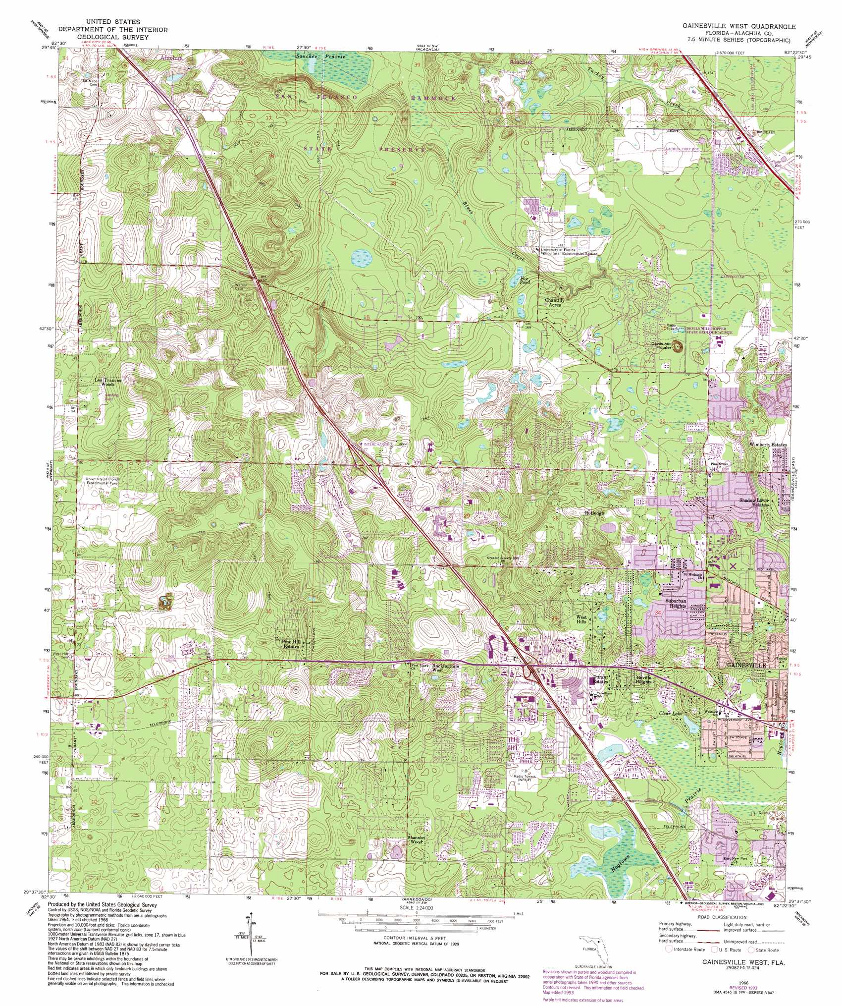 Gainesville Map - Florida topographic map free