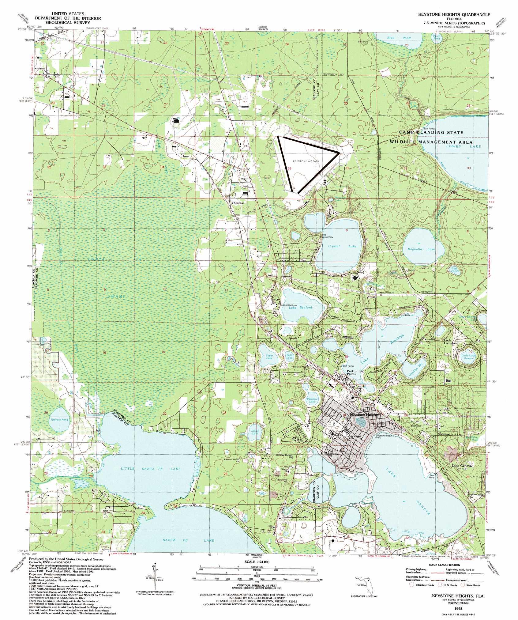 Keystone Heights topographic map, FL - USGS Topo Quad 29082g1