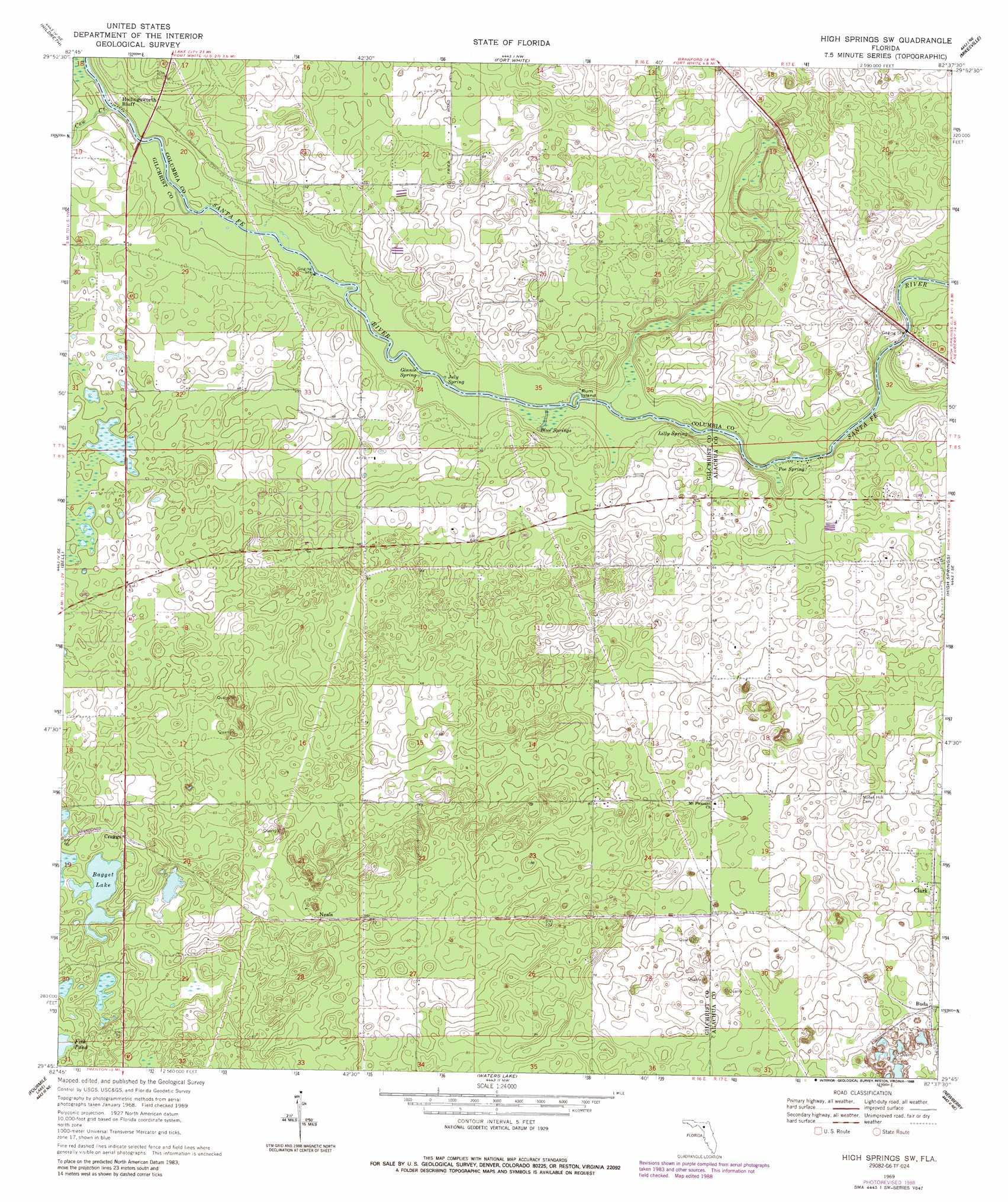 High Springs Sw topographic map, FL - USGS Topo Quad 29082g6