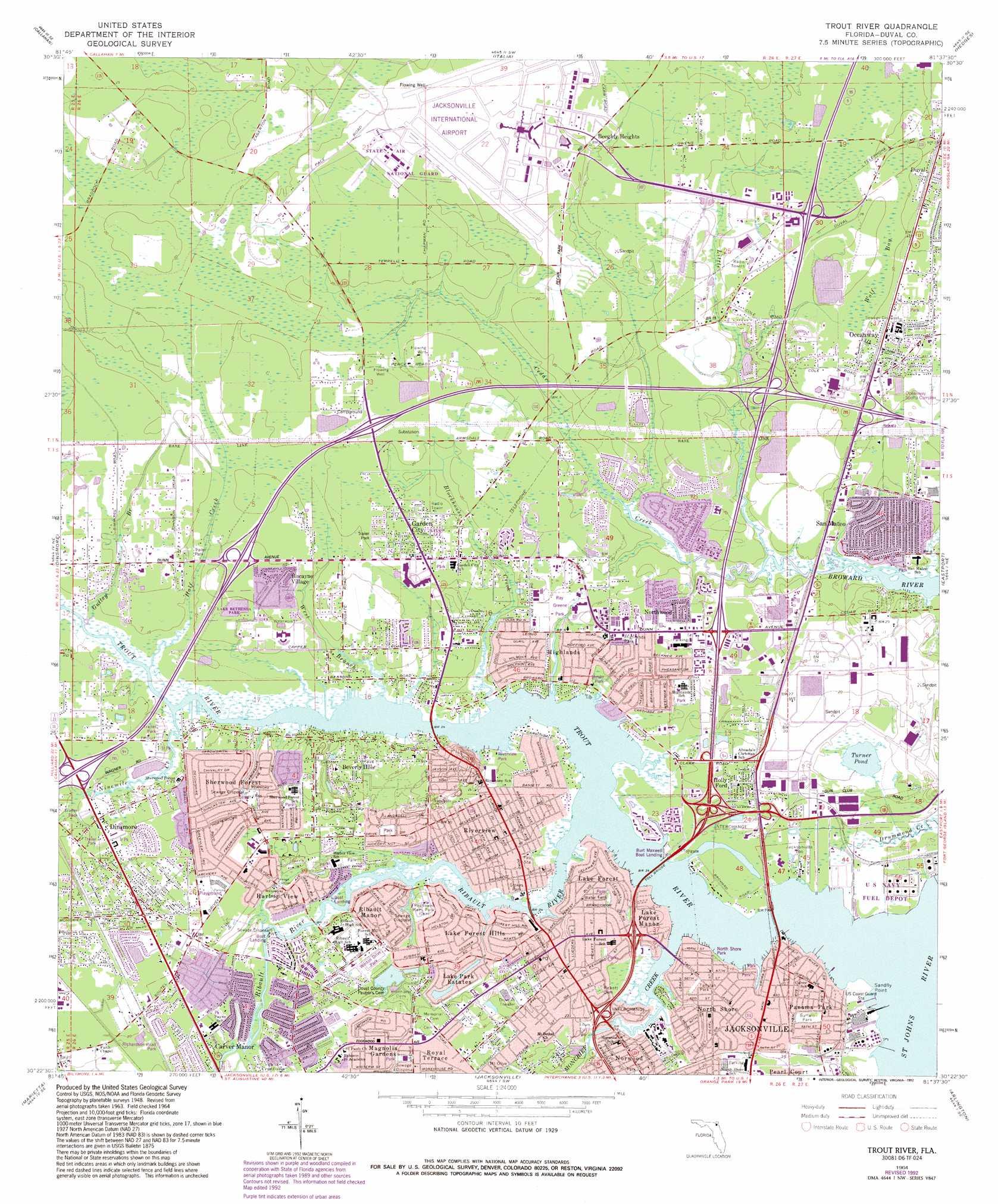 Trout River topographic map, FL - USGS Topo Quad 30081d6