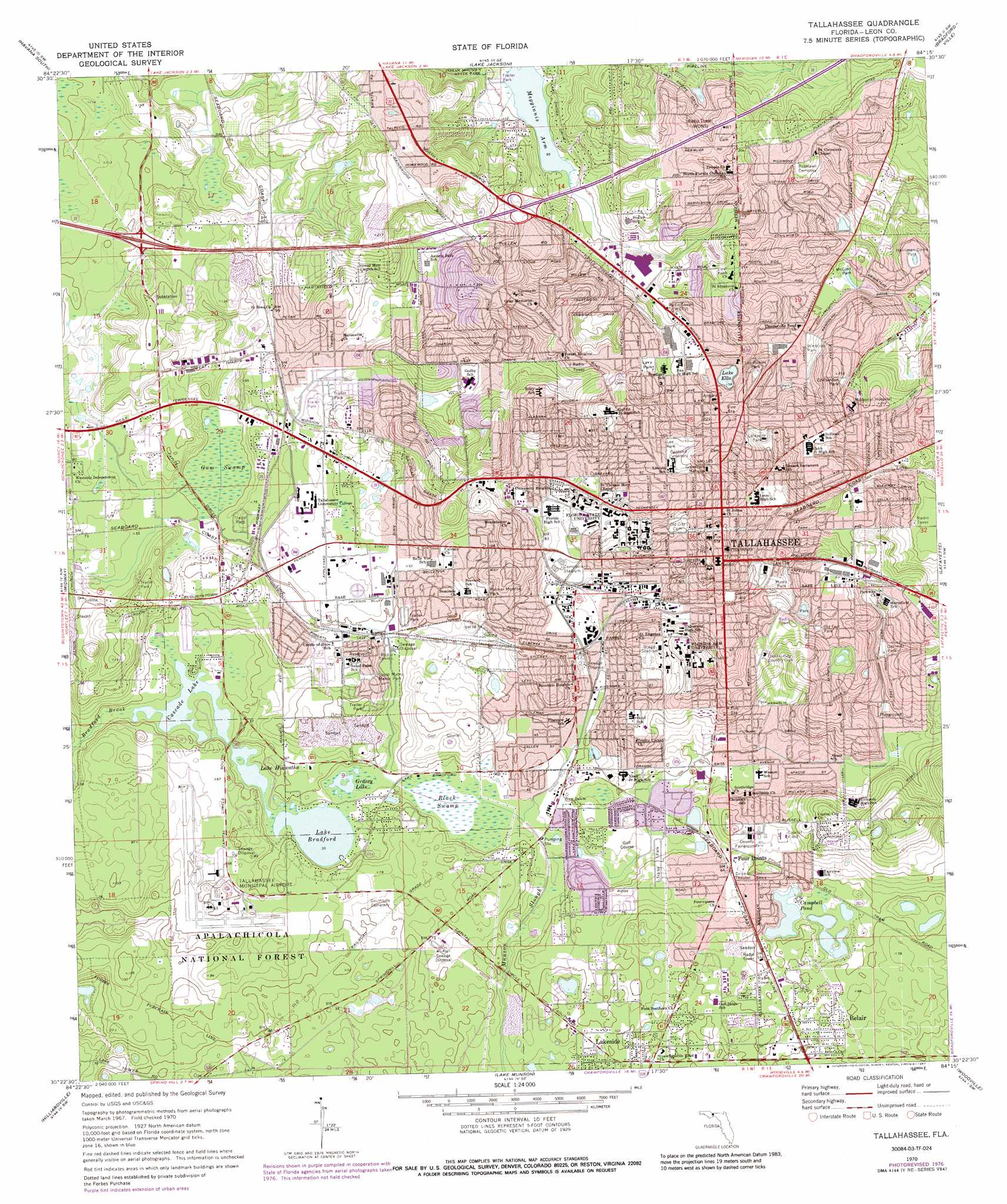 Tallahassee Topographic Map FL  USGS Topo Quad 30084d3