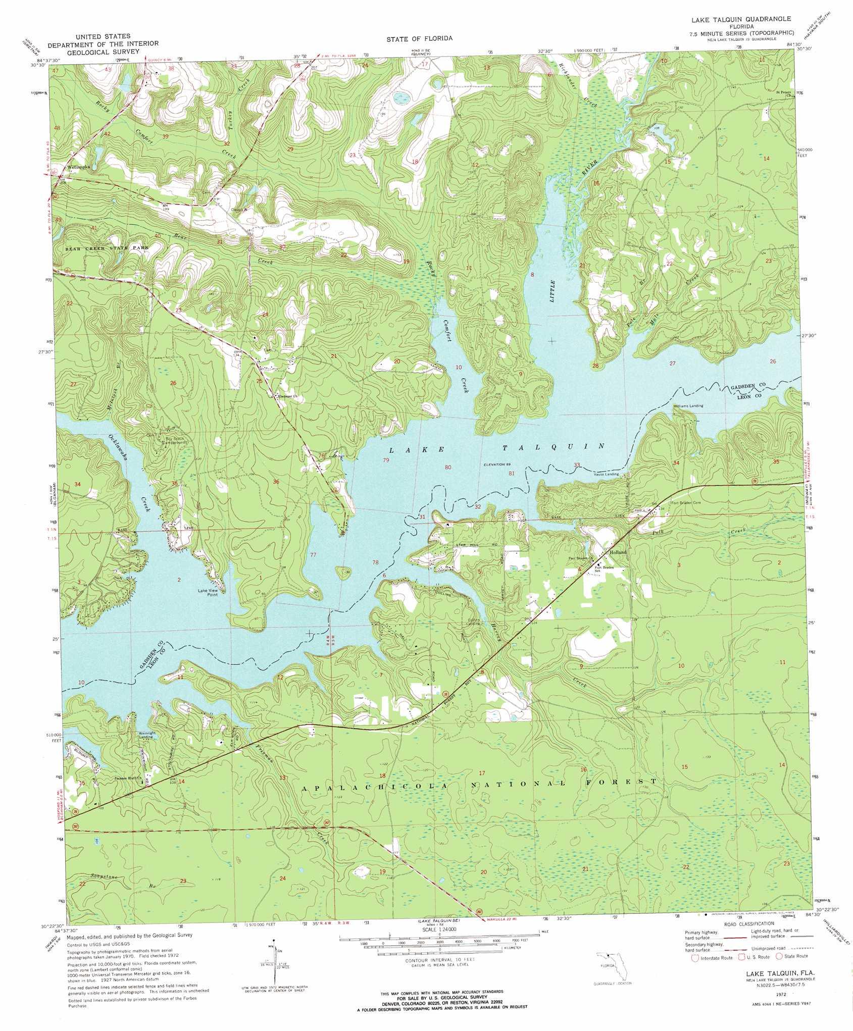 Topo Map Florida.Lake Talquin Topographic Map Fl Usgs Topo Quad 30084d5