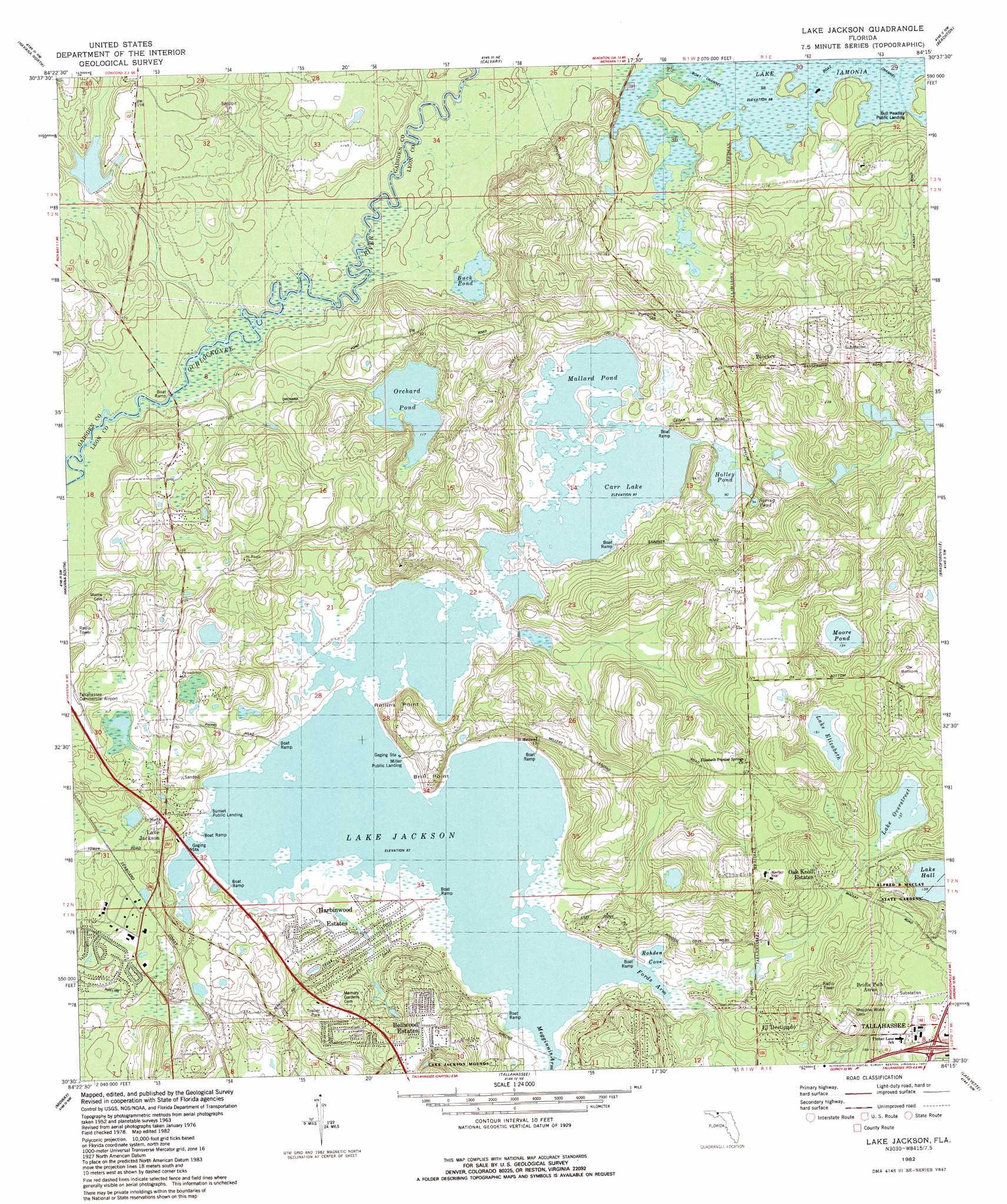 Lake Jackson Topographic Map FL USGS Topo Quad E - Florida quad map