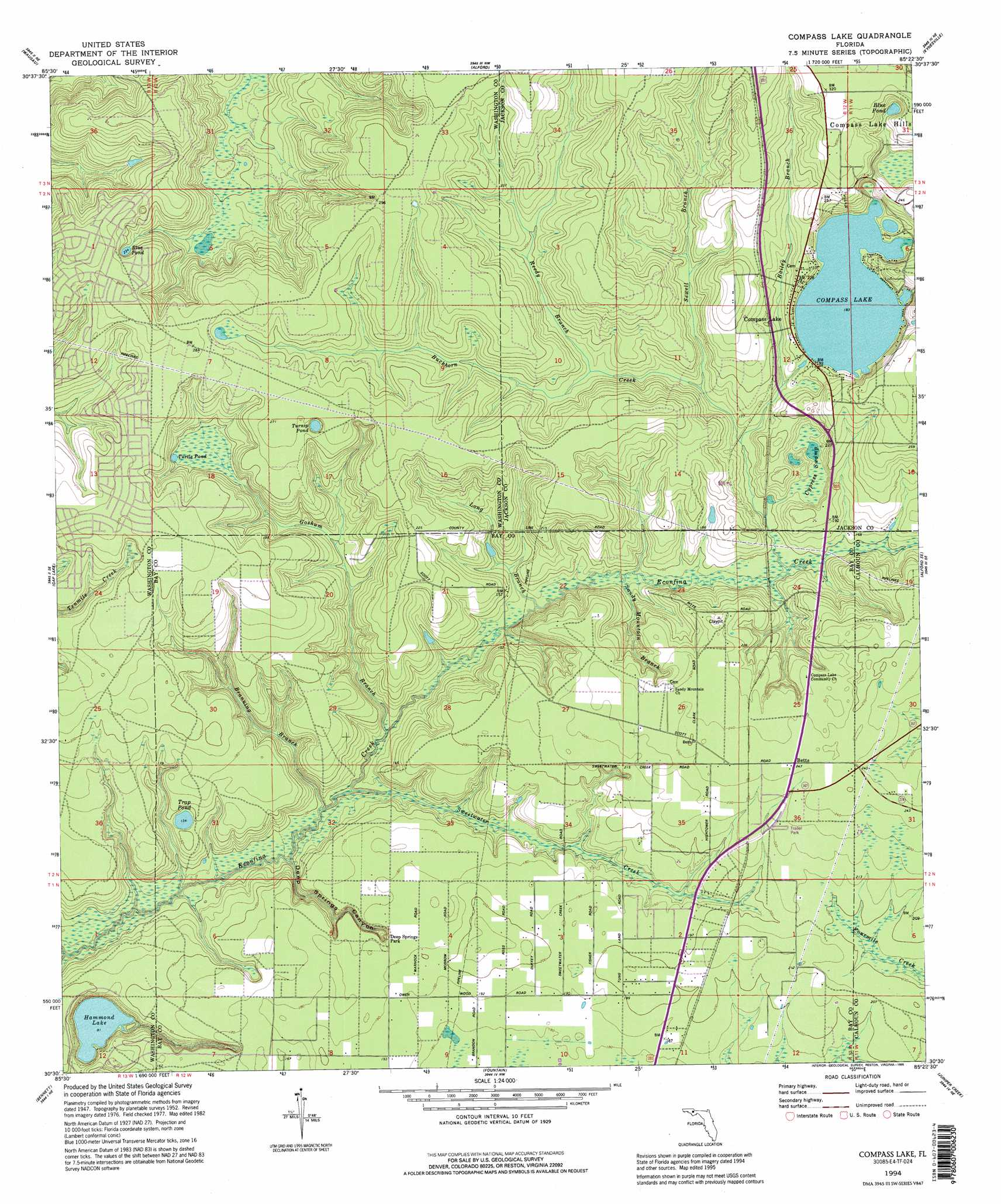 Compass Lake Topographic Map FL USGS Topo Quad E - Us map with compass