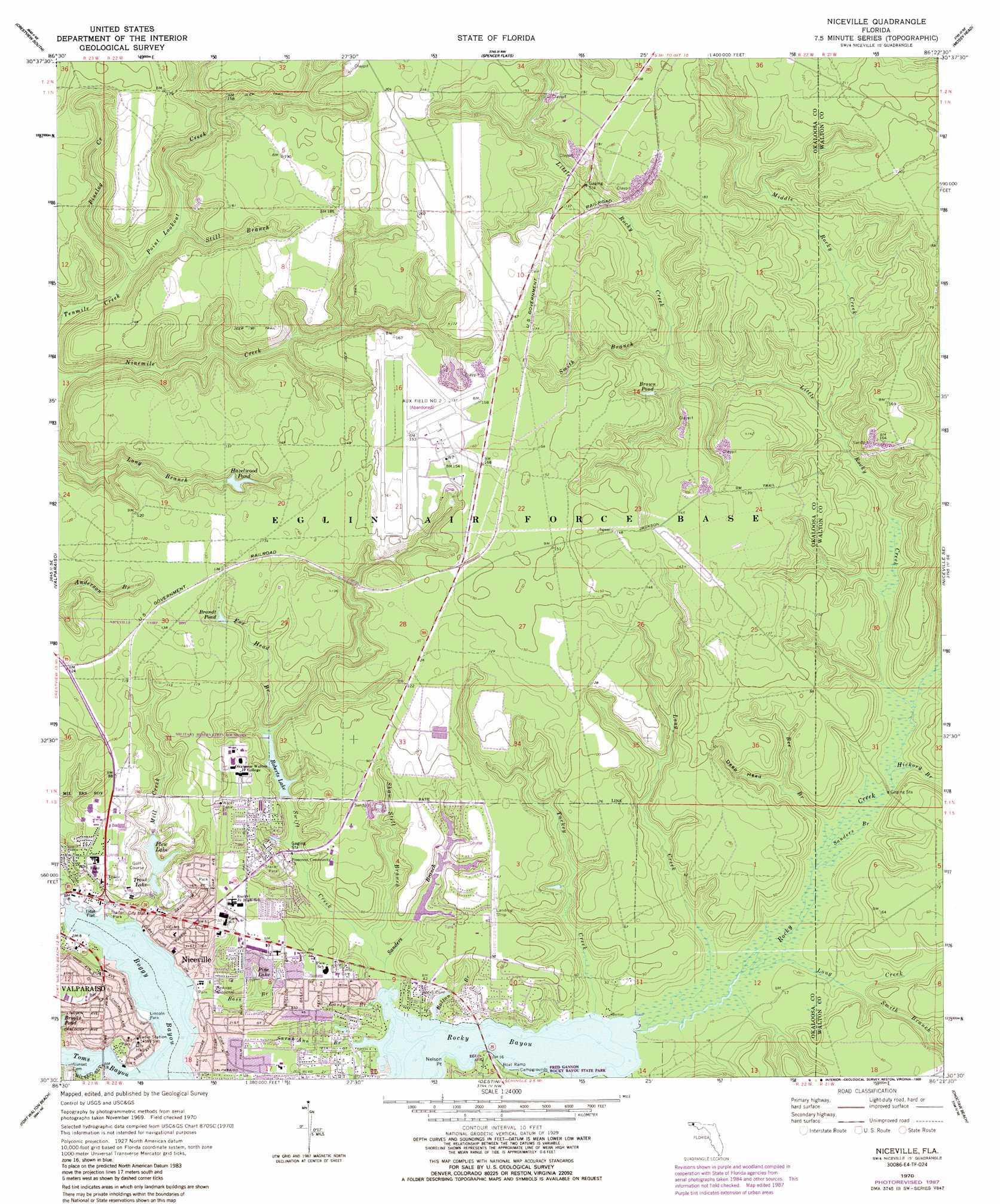 Niceville Topographic Map FL USGS Topo Quad E - Florida map niceville