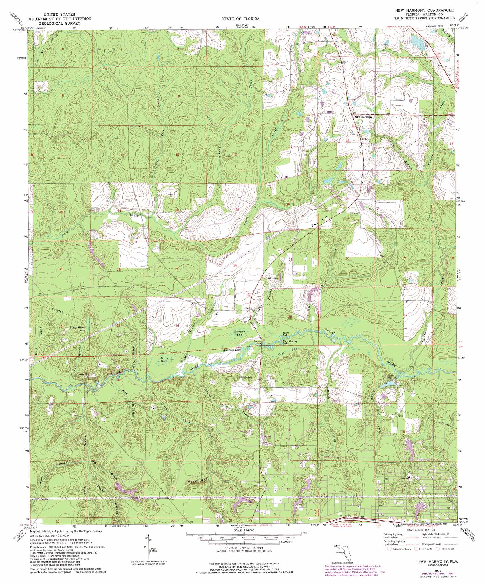 Topographical Map Of Florida.New Harmony Topographic Map Fl Usgs Topo Quad 30086g3