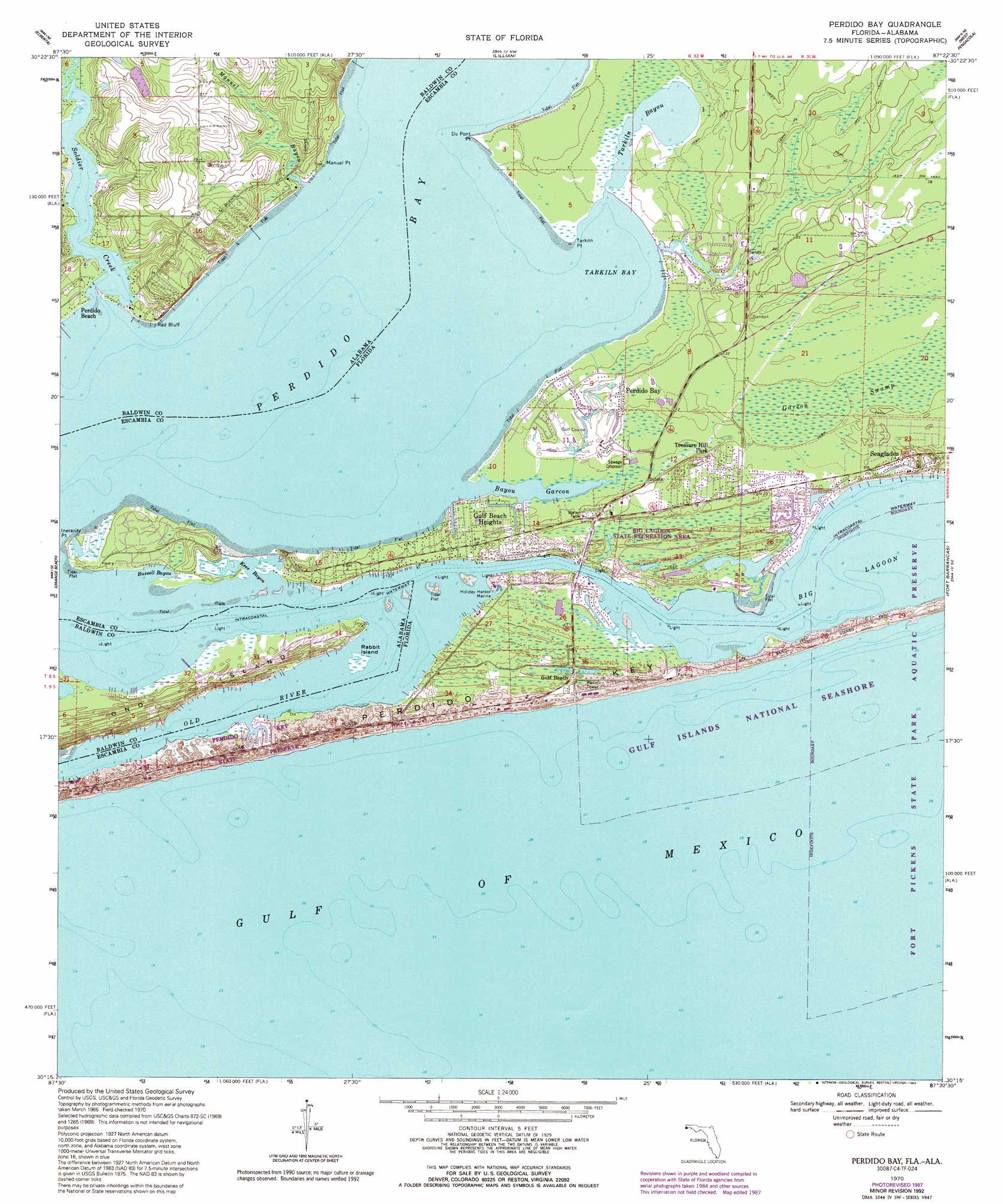 Perdido Bay Topographic Map FL AL USGS Topo Quad C - Eastern us topographic map