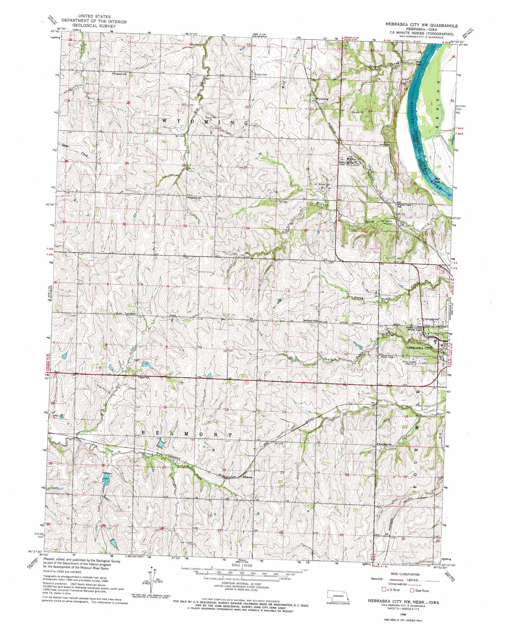 Nebraska City Nw Topographic Map NE IA  USGS Topo Quad
