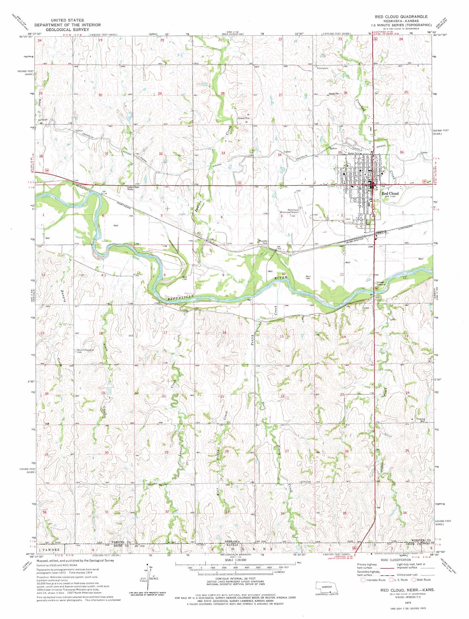 Red cloud topographic map ne ks usgs topo quad 40098a5 red cloud sciox Choice Image
