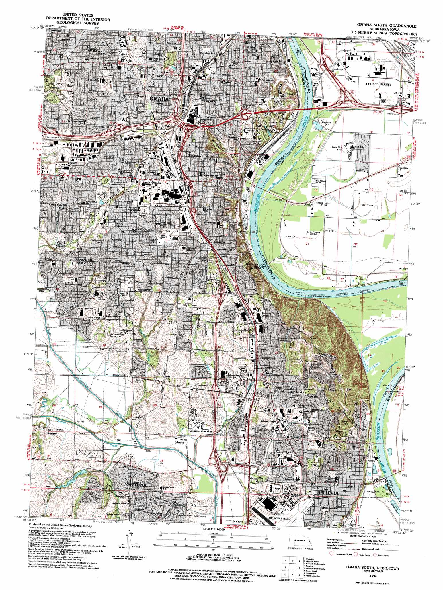 Omaha South Topographic Map Ne Ia Usgs Topo Quad 41095b8 - Omaha-on-us-map