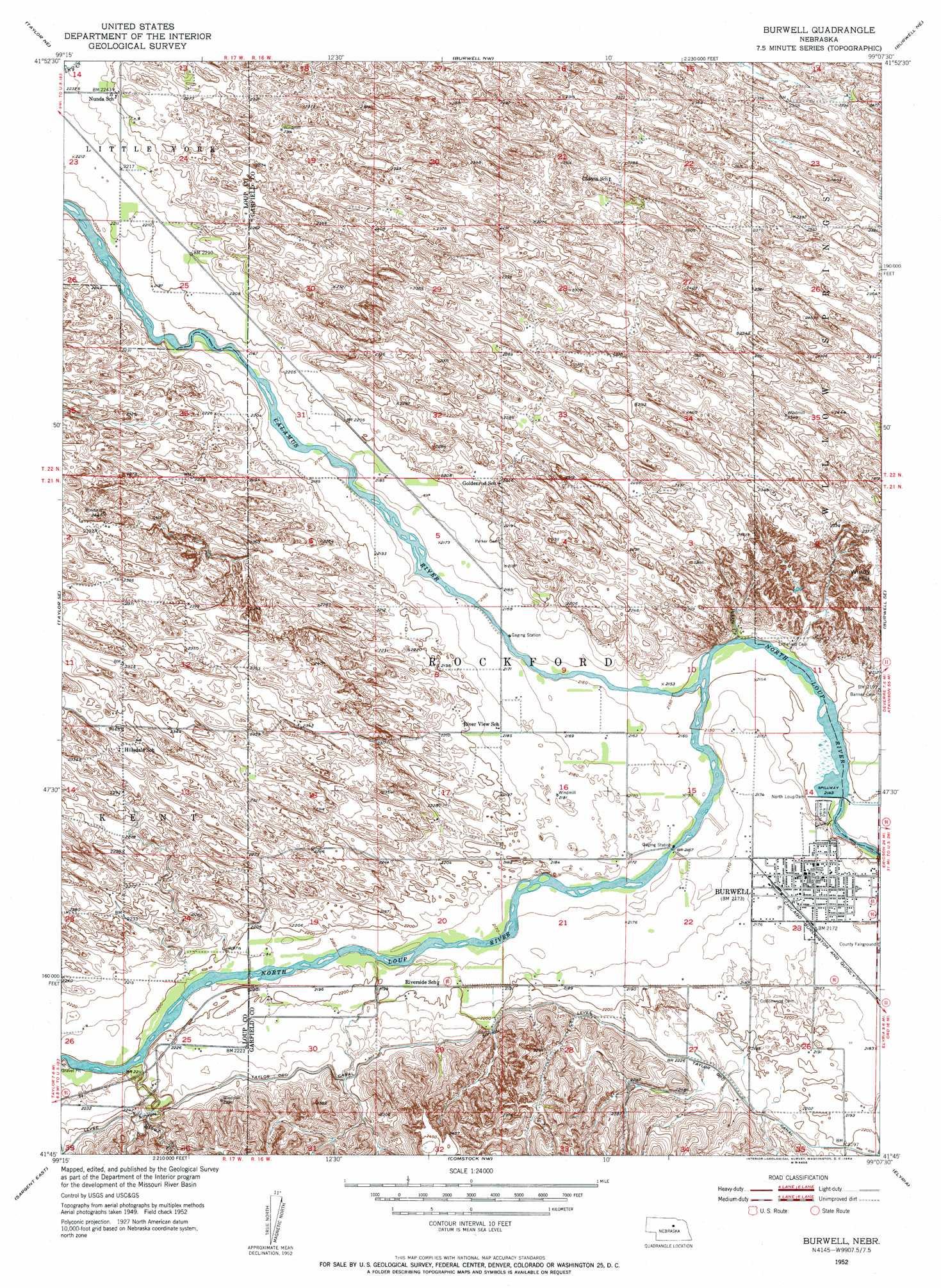 Burwell Nebraska Map.Burwell Topographic Map Ne Usgs Topo Quad 41099g2