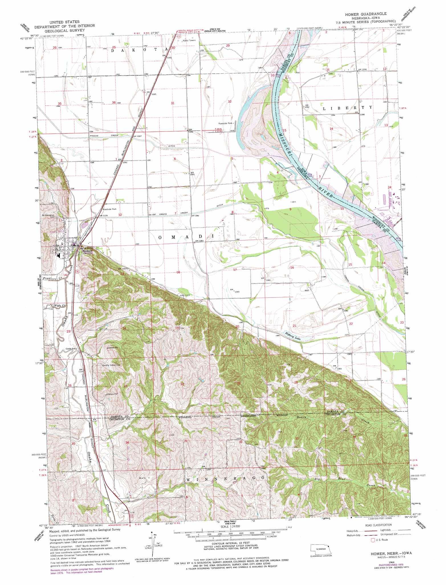 Homer topographic map, NE, IA - USGS Topo Quad 42096c4
