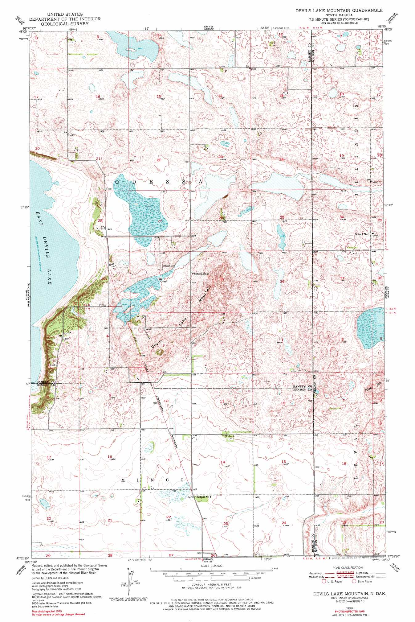 Devils Lake Mountain topographic map ND USGS Topo Quad 47098h5