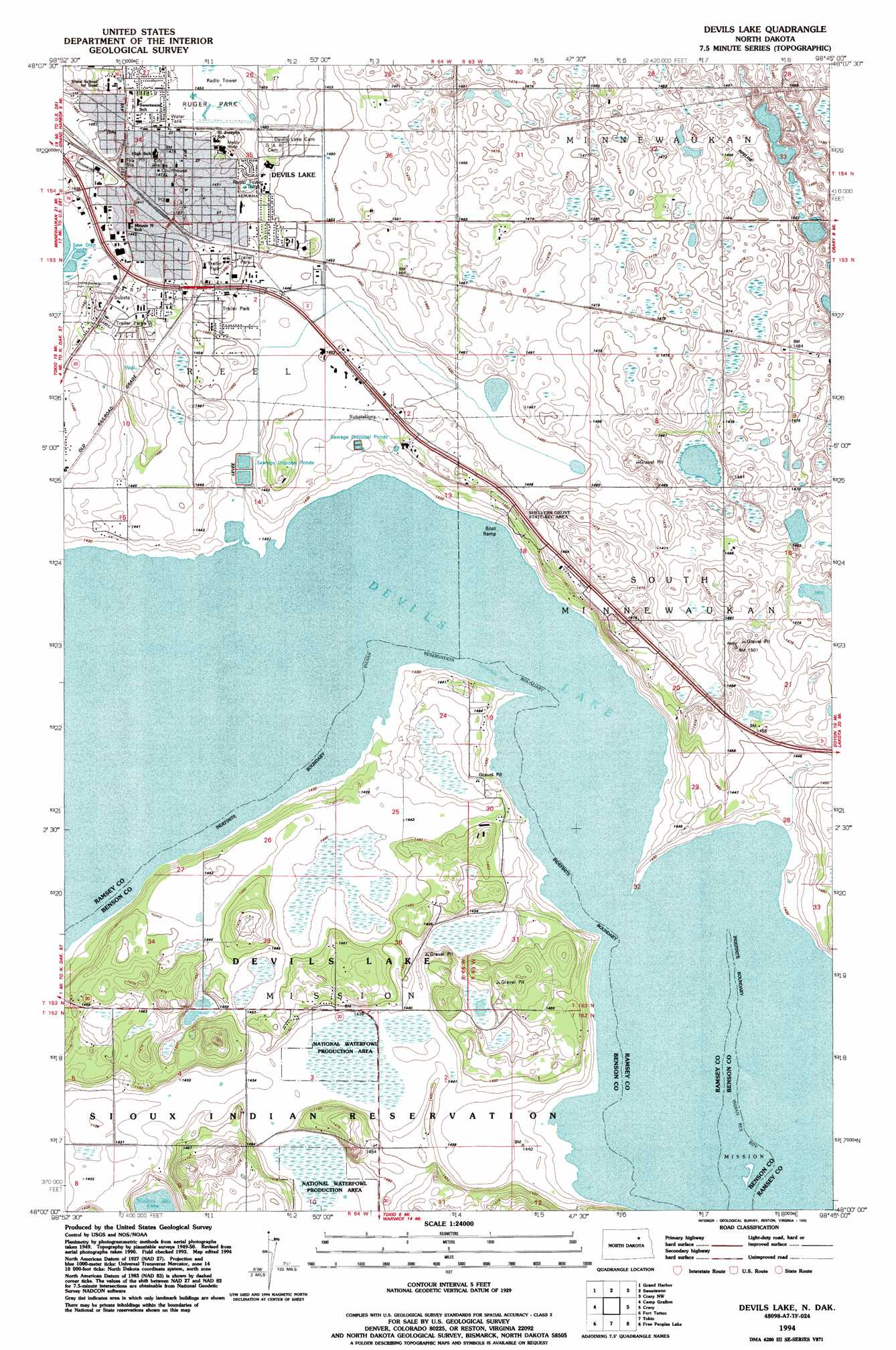 Devils Lake topographic map ND USGS Topo Quad 48098a7