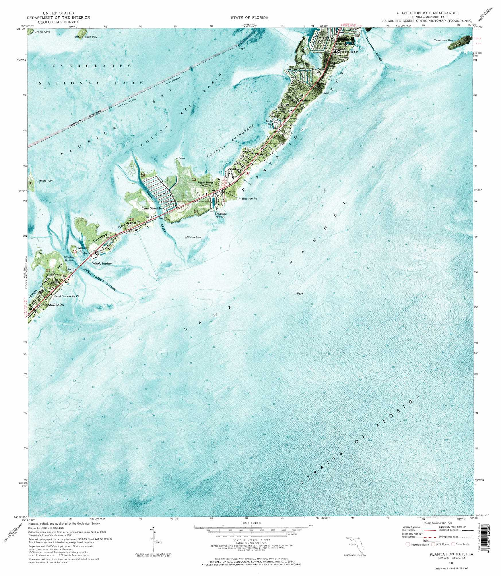 Plantation Key Topographic Map Fl Usgs Topo Quad 24080h5