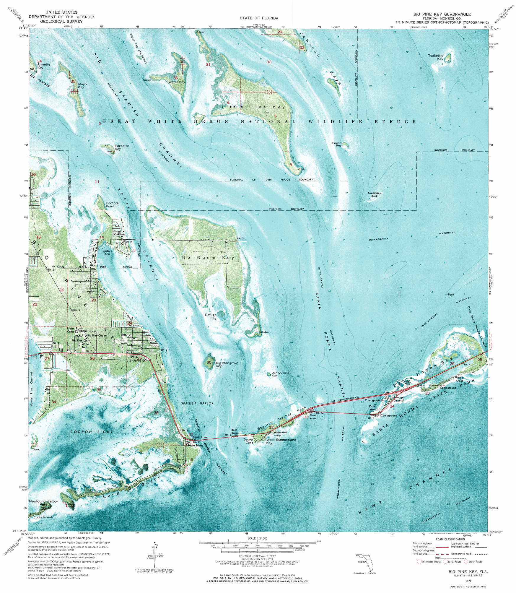 Big Pine Key topographic map, FL - USGS Topo Quad 24081f3
