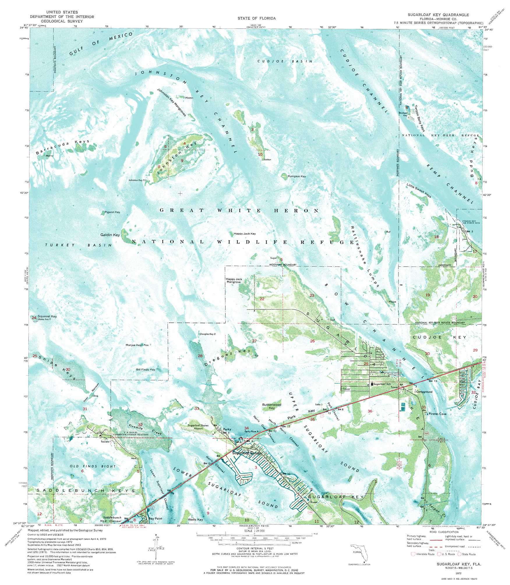 Sugarloaf Key Topographic Map FL USGS Topo Quad F - Florida topographic map free