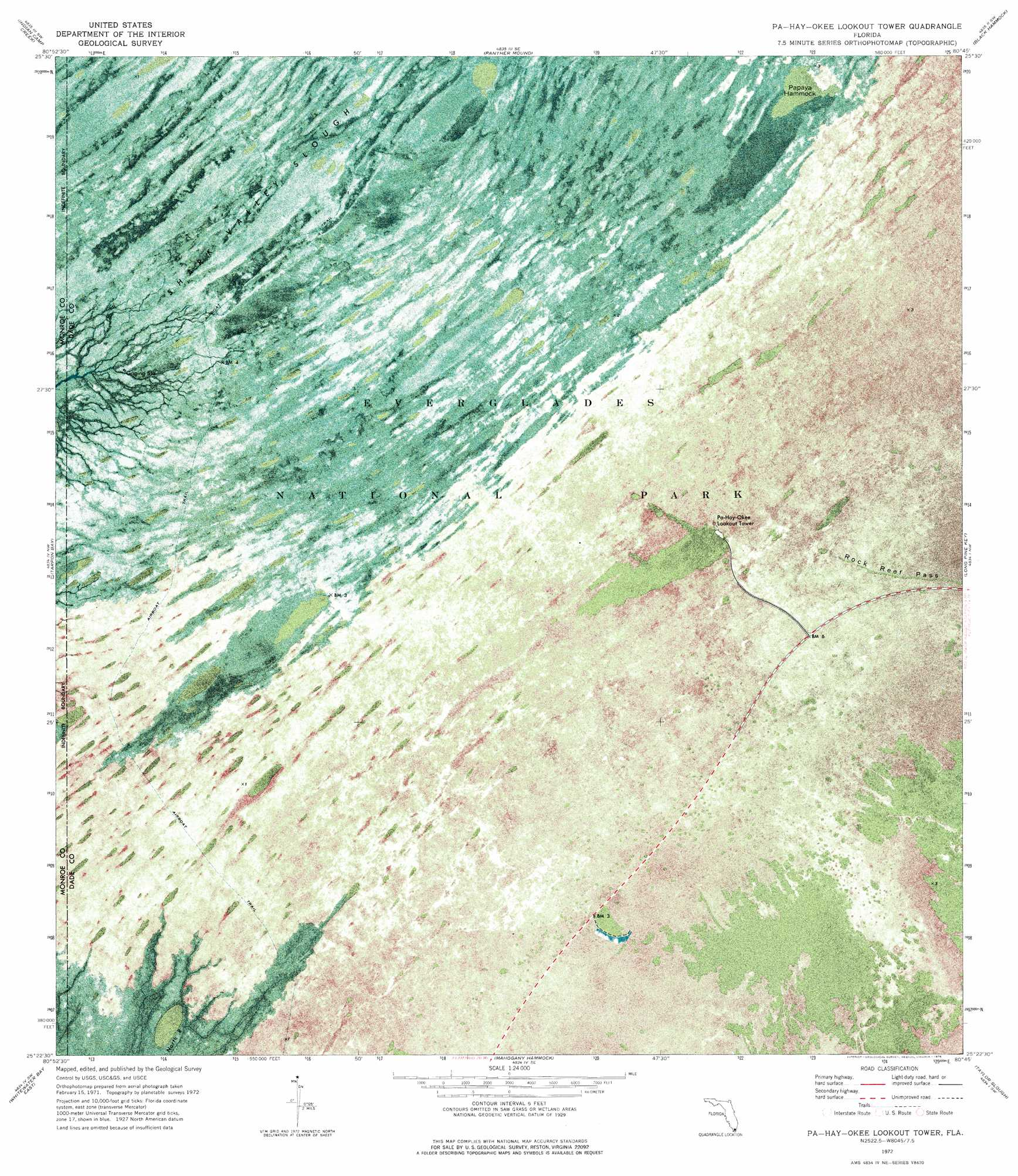 Pa-Hay-Okee Lookout Tower topographic map, FL - USGS Topo Quad 25080d7