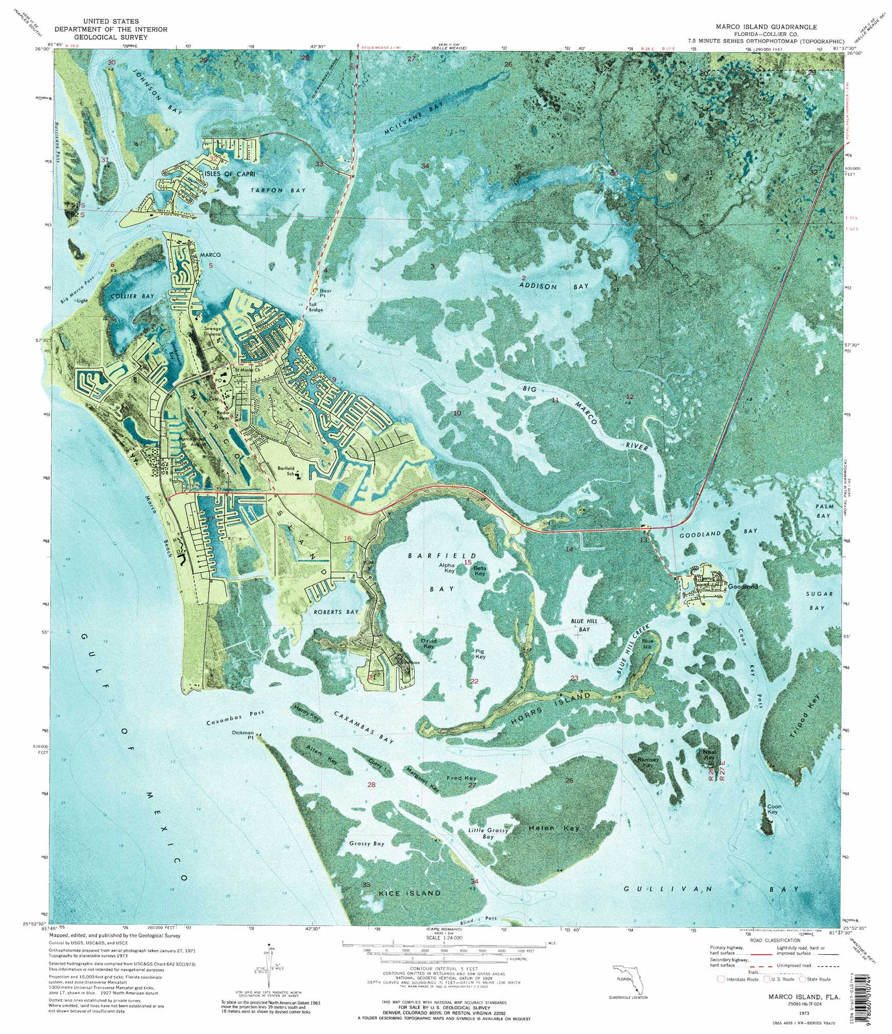 Marco Island Topographic Map FL USGS Topo Quad H - Florida elevation map