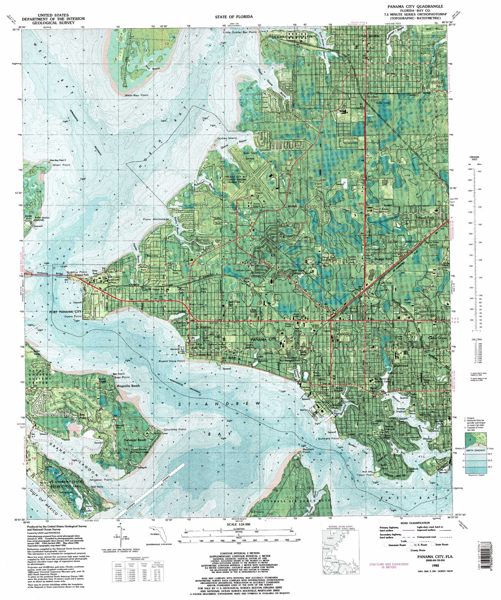 Panama City topographic map, FL - USGS Topo Quad 30085b6