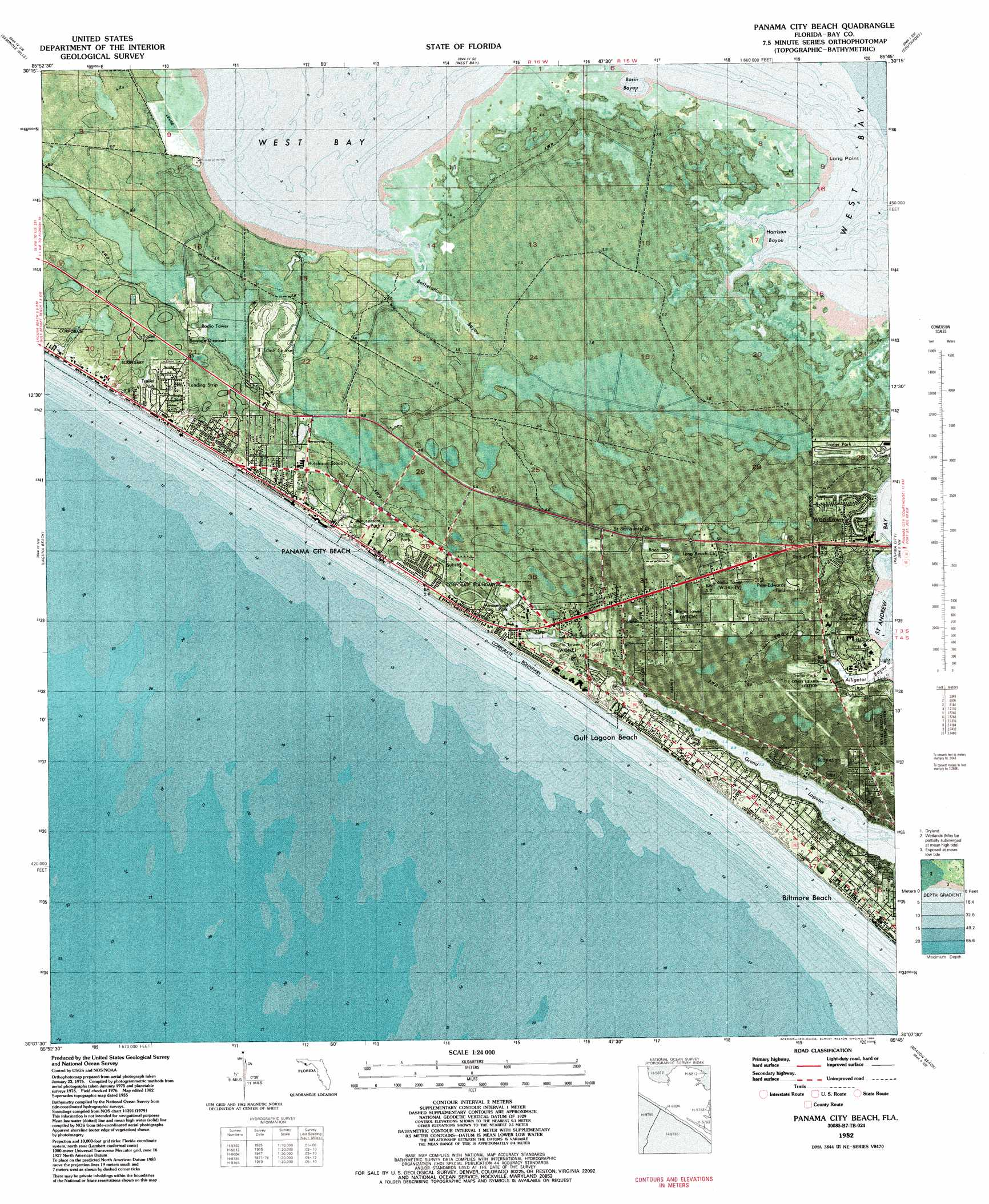 Panama City Beach Topographic Map FL USGS Topo Quad B - Eastern us topographic map