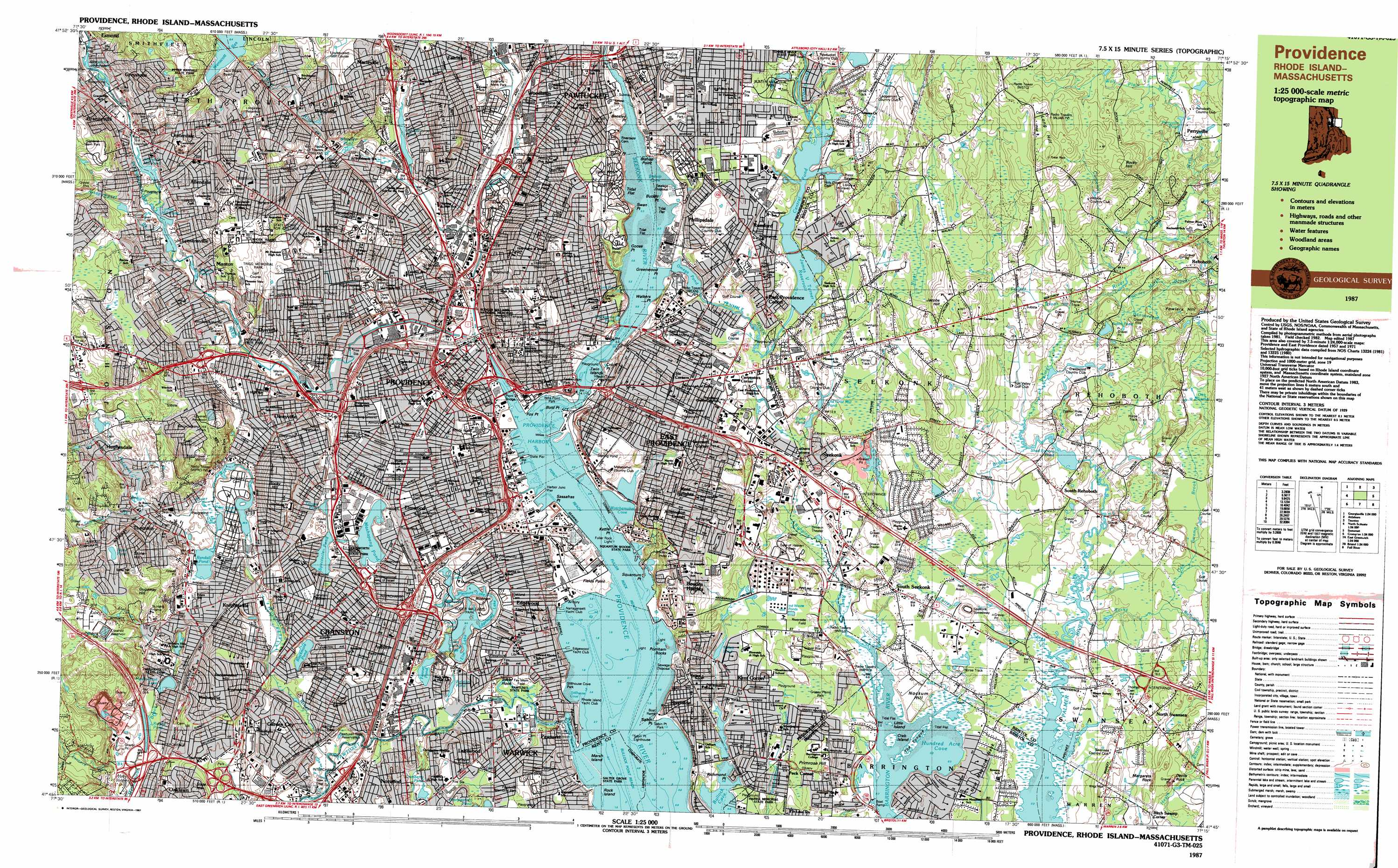 East Providence topographic map, MA, RI - USGS Topo Quad 41071g3