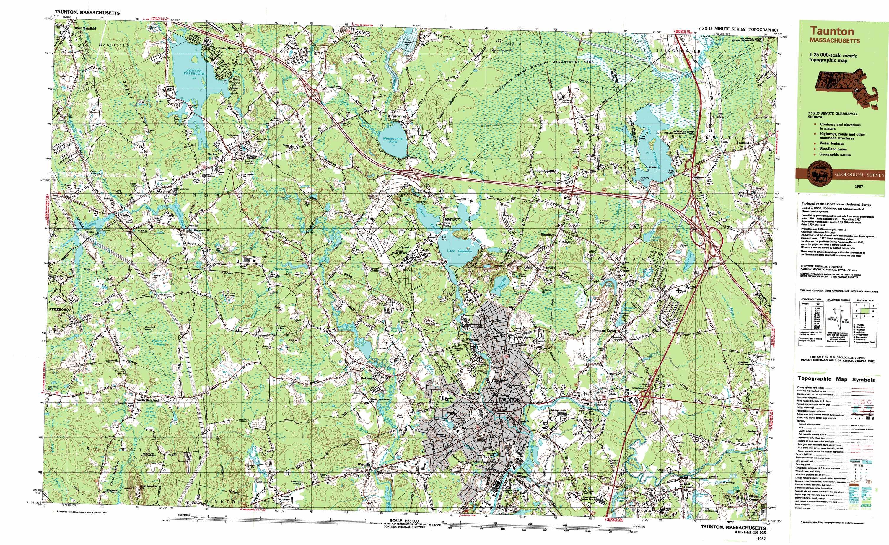Taunton topographic map MA USGS Topo Quad 41071h1