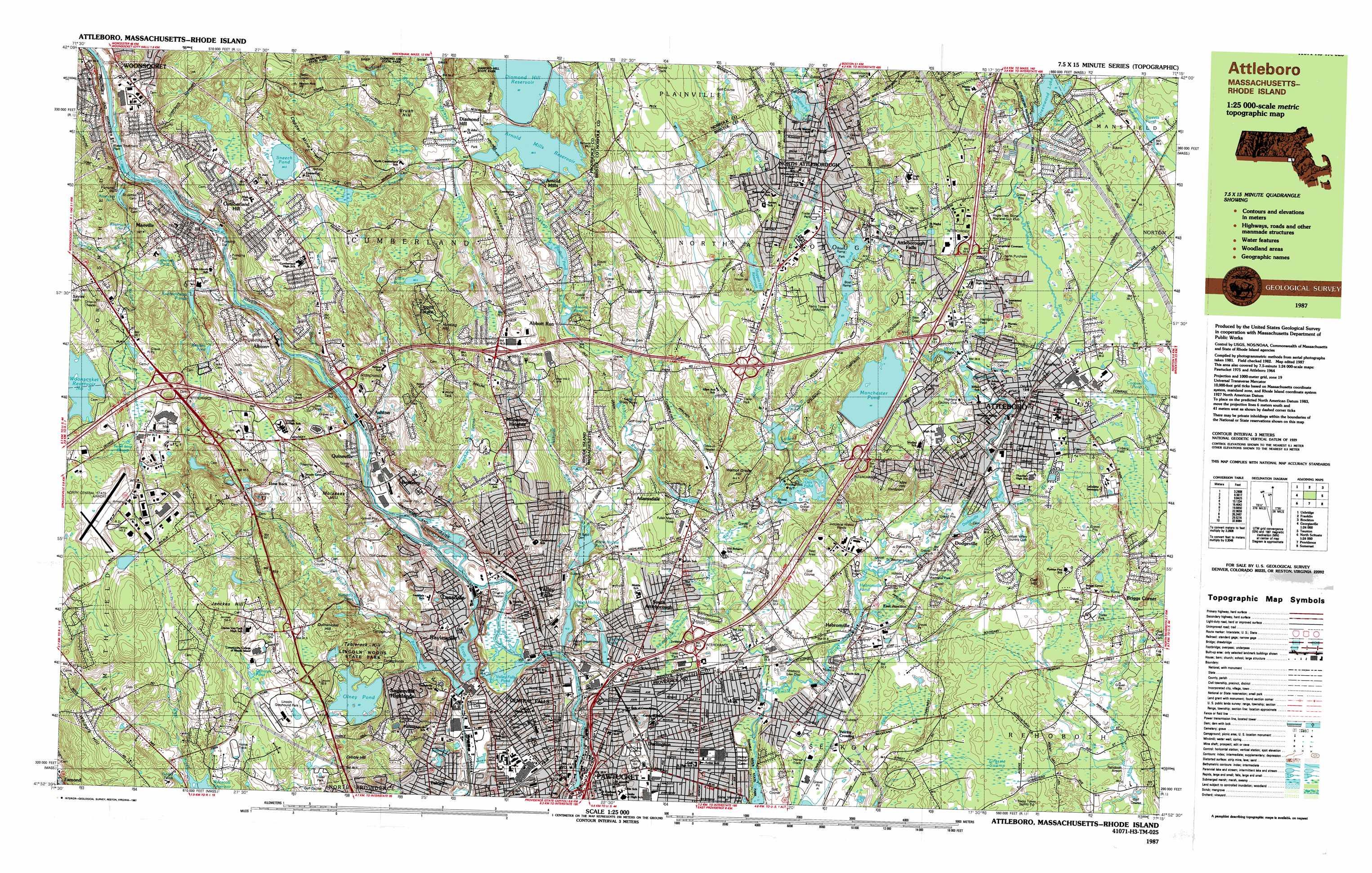 Topographic Map Rhode Island.Attleboro Topographic Map Ma Ri Usgs Topo Quad 41071h3
