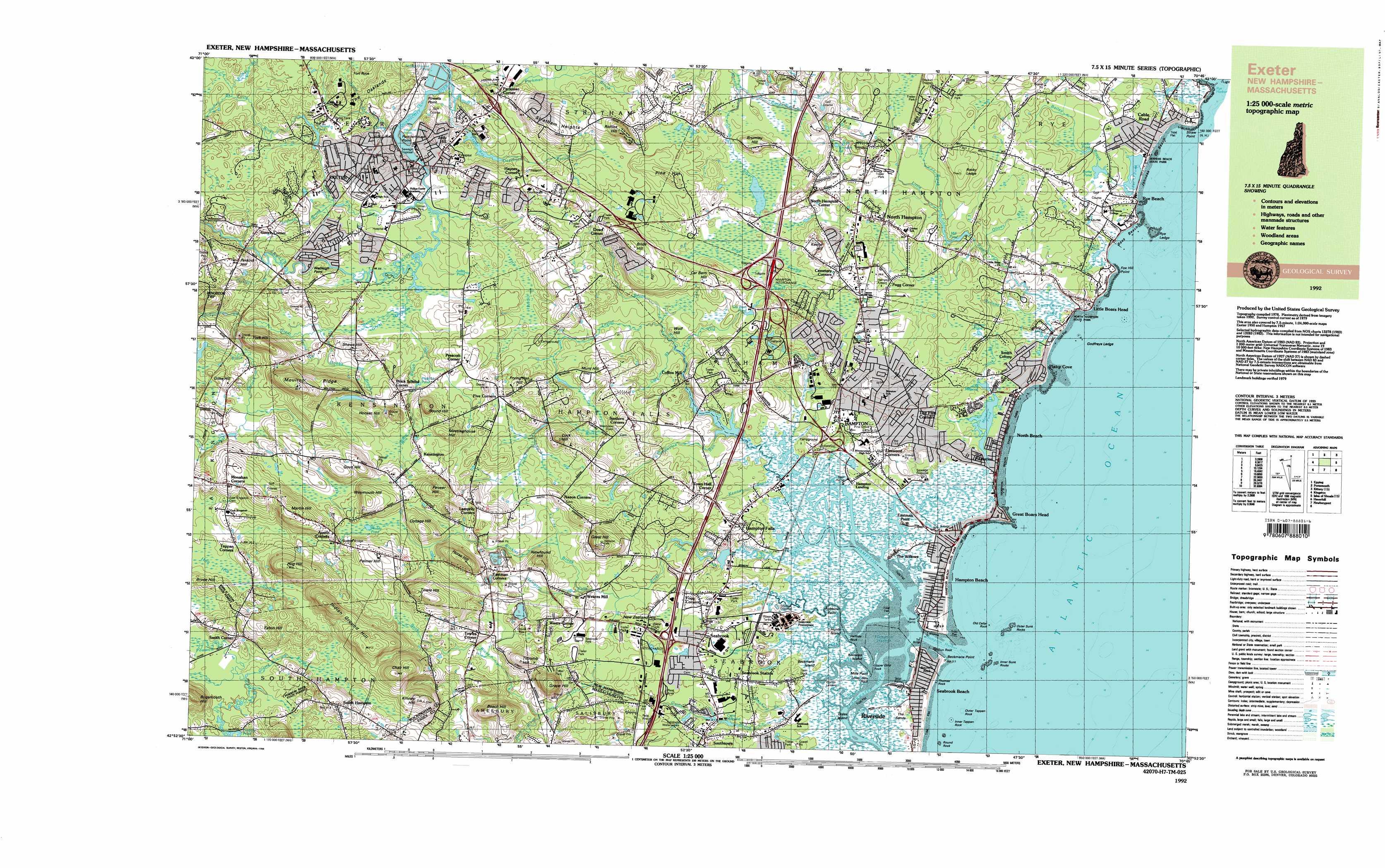 Hampton topographic map NH MA USGS Topo Quad 42070h7