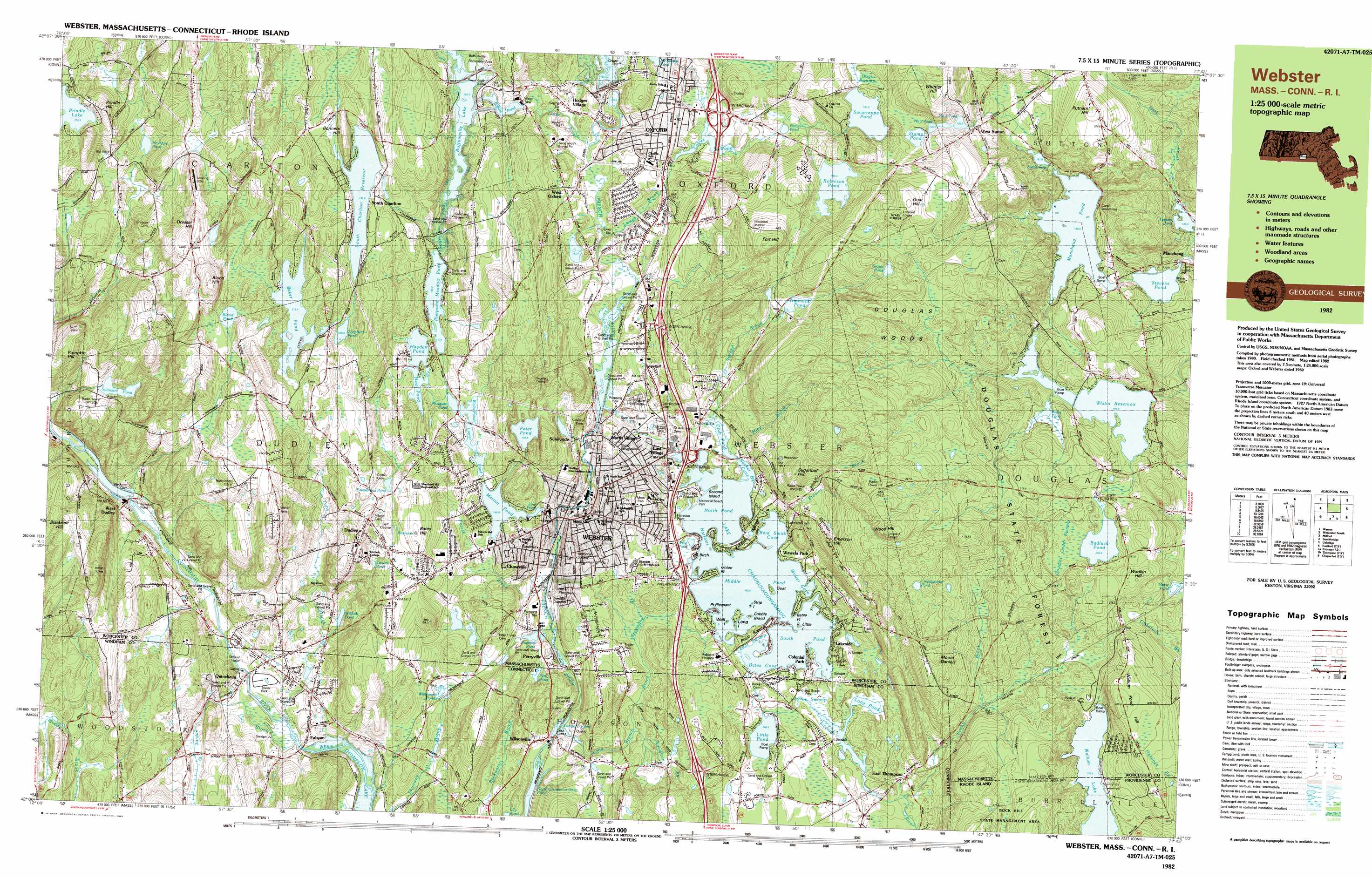 Oxford topographic map, MA, RI, CT - USGS Topo Quad 42071a7