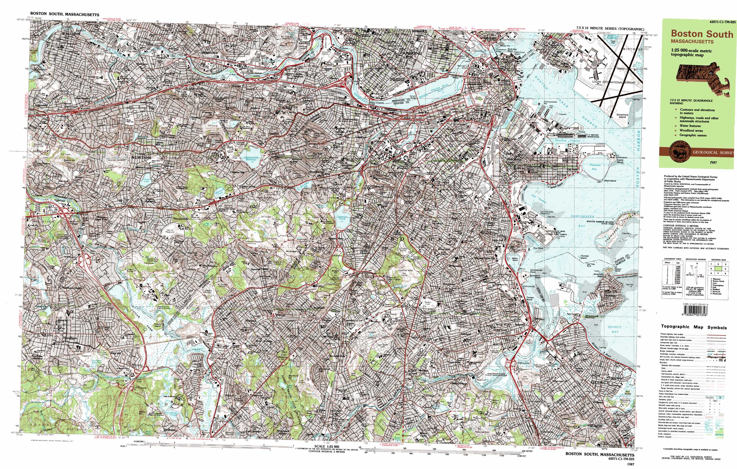 Boston South Topographic Map MA USGS Topo Quad C - Us topographic map with cities