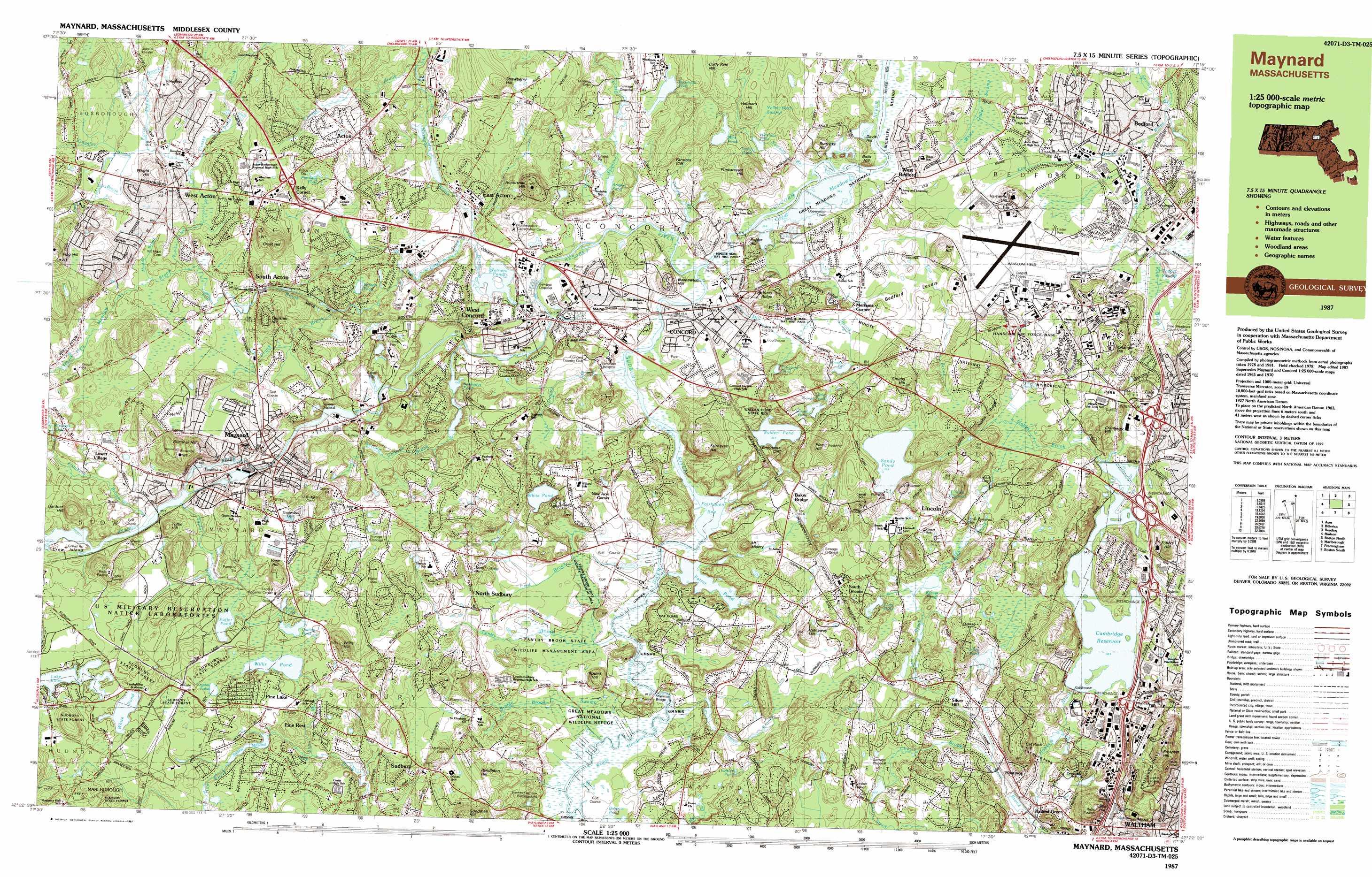 Concord topographic map MA USGS Topo Quad 42071d3