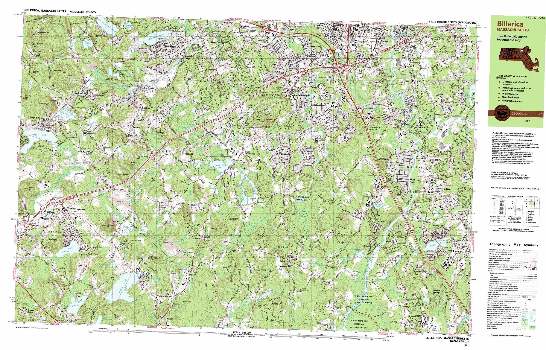 Topographic Map Massachusetts.Billerica Topographic Map Ma Usgs Topo Quad 42071e3