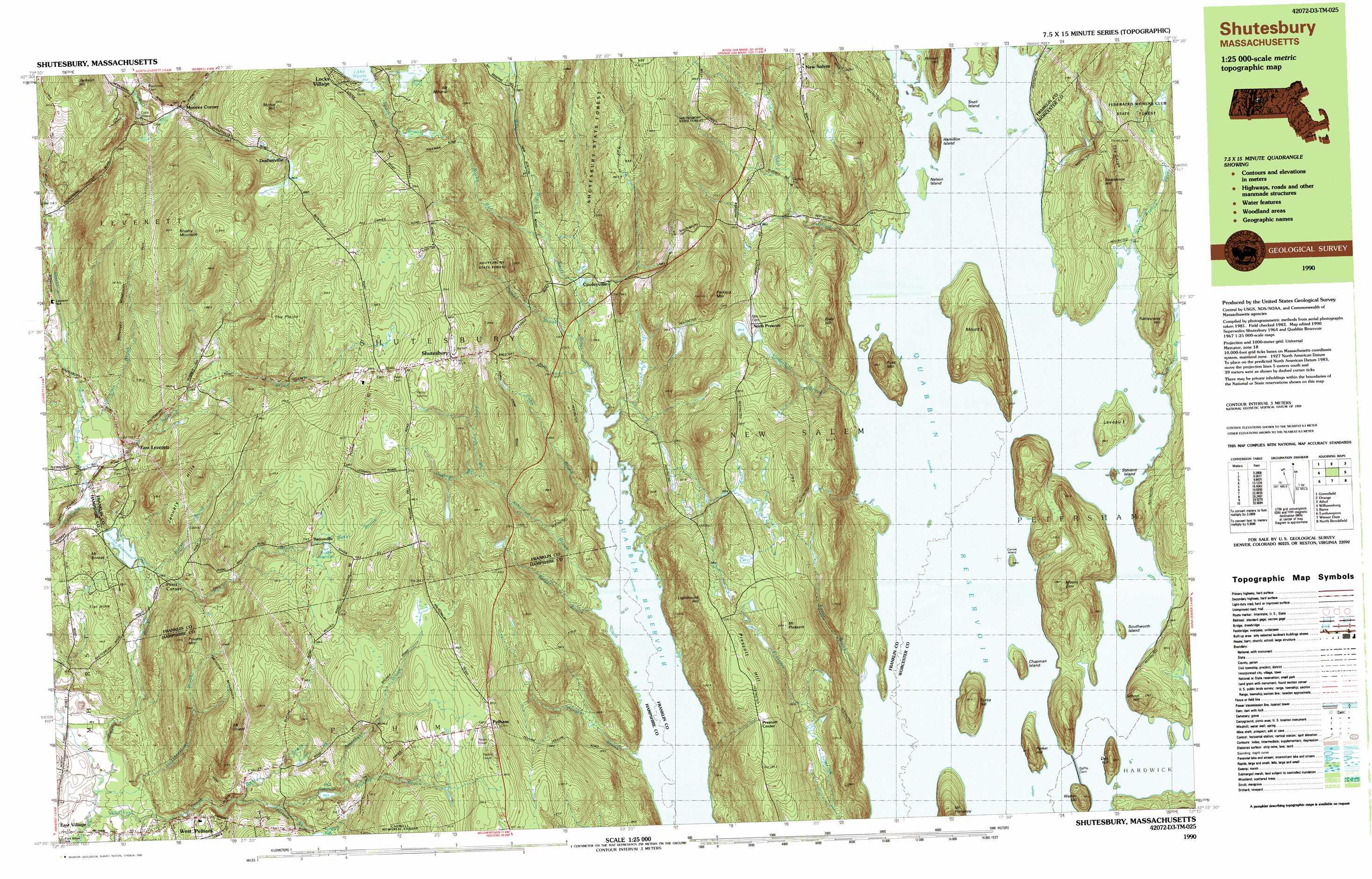 Quabbin Reservoir topographic map, MA - USGS Topo Quad 42072d3 on