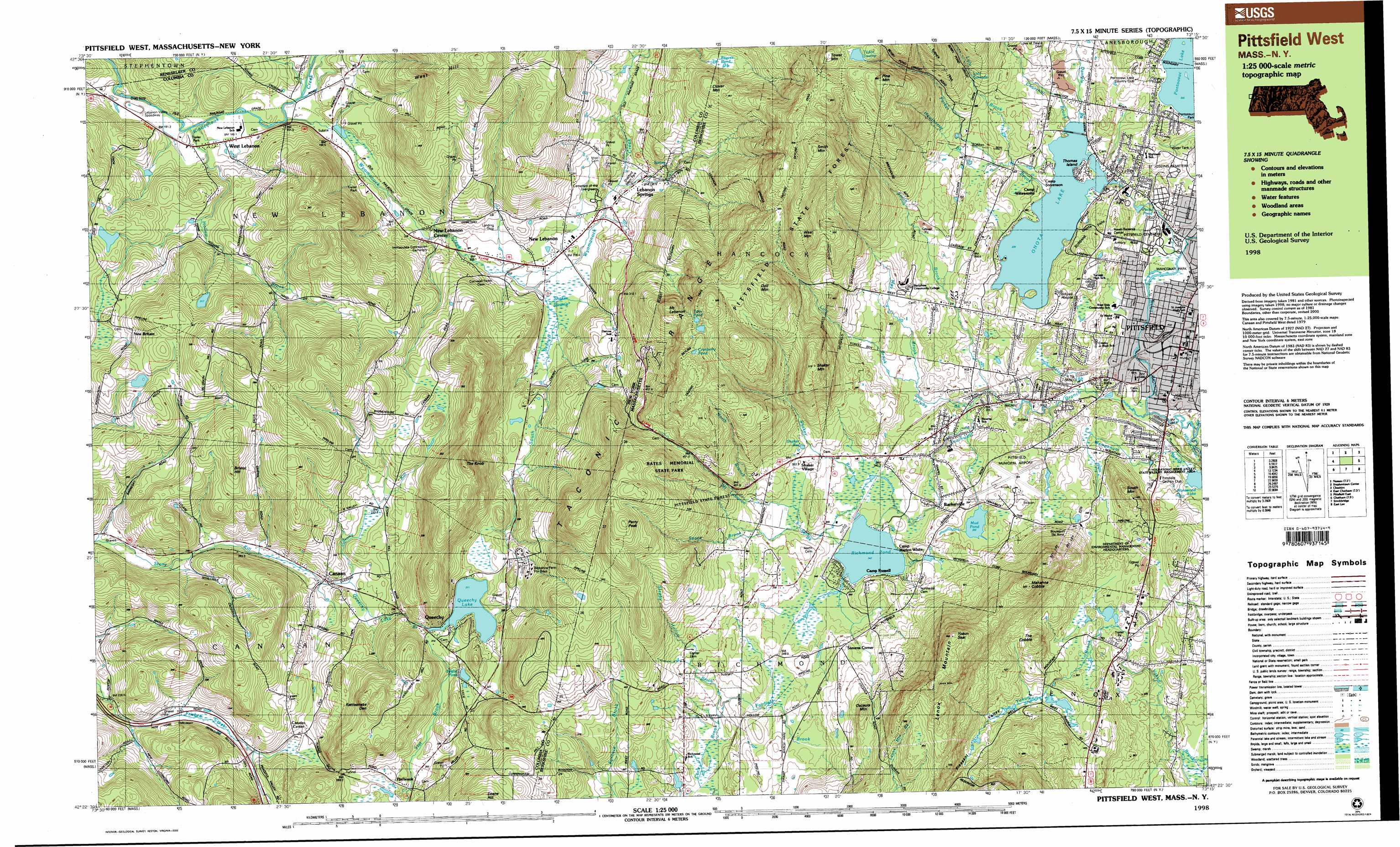 Pittsfield West Topographic Map Ma Ny Usgs Topo Quad D Usa Topo Maps