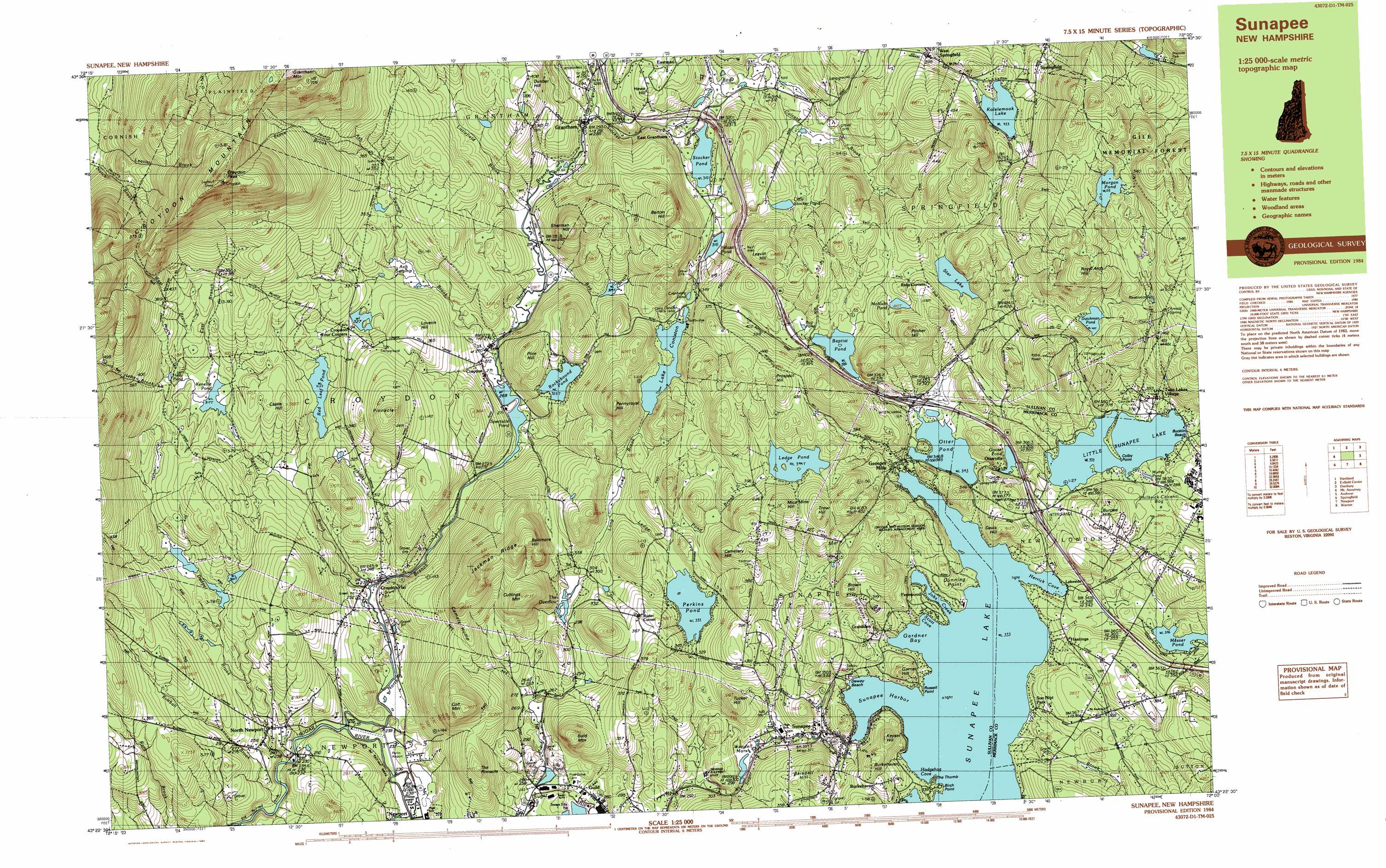 Sunapee Lake North Topographic Map Nh Usgs Topo Quad 43072d1