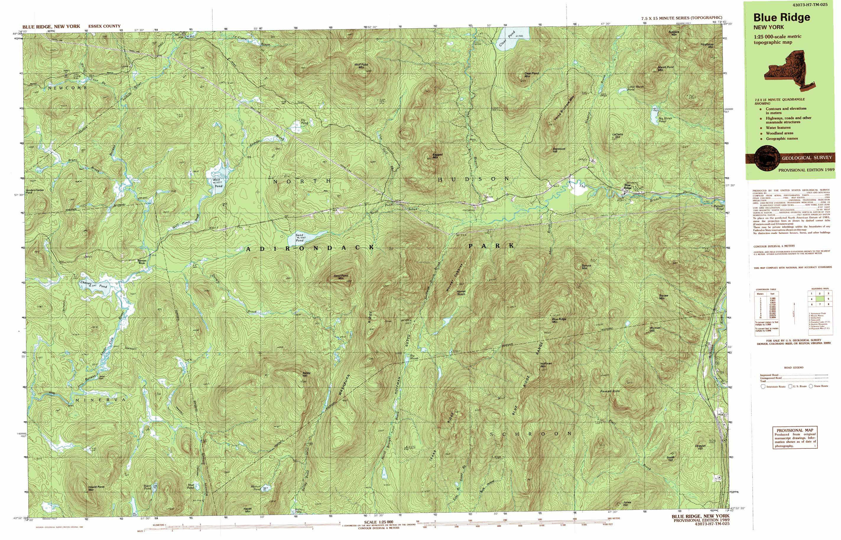 Blue Ridge Topographic Map NY USGS Topo Quad H - New york map mountains