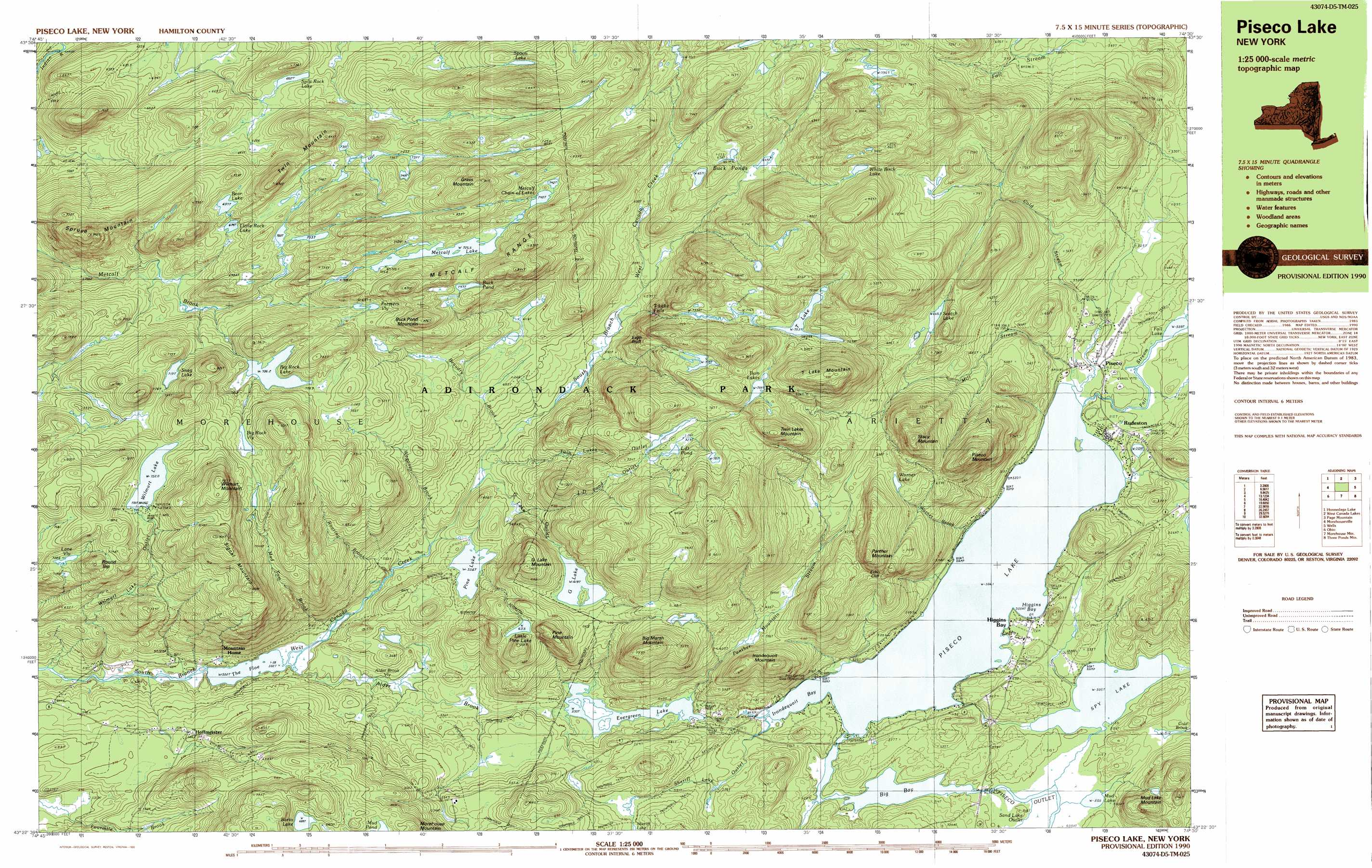 Piseco Lake Topographic Map NY USGS Topo Quad D - Nyc map topographic