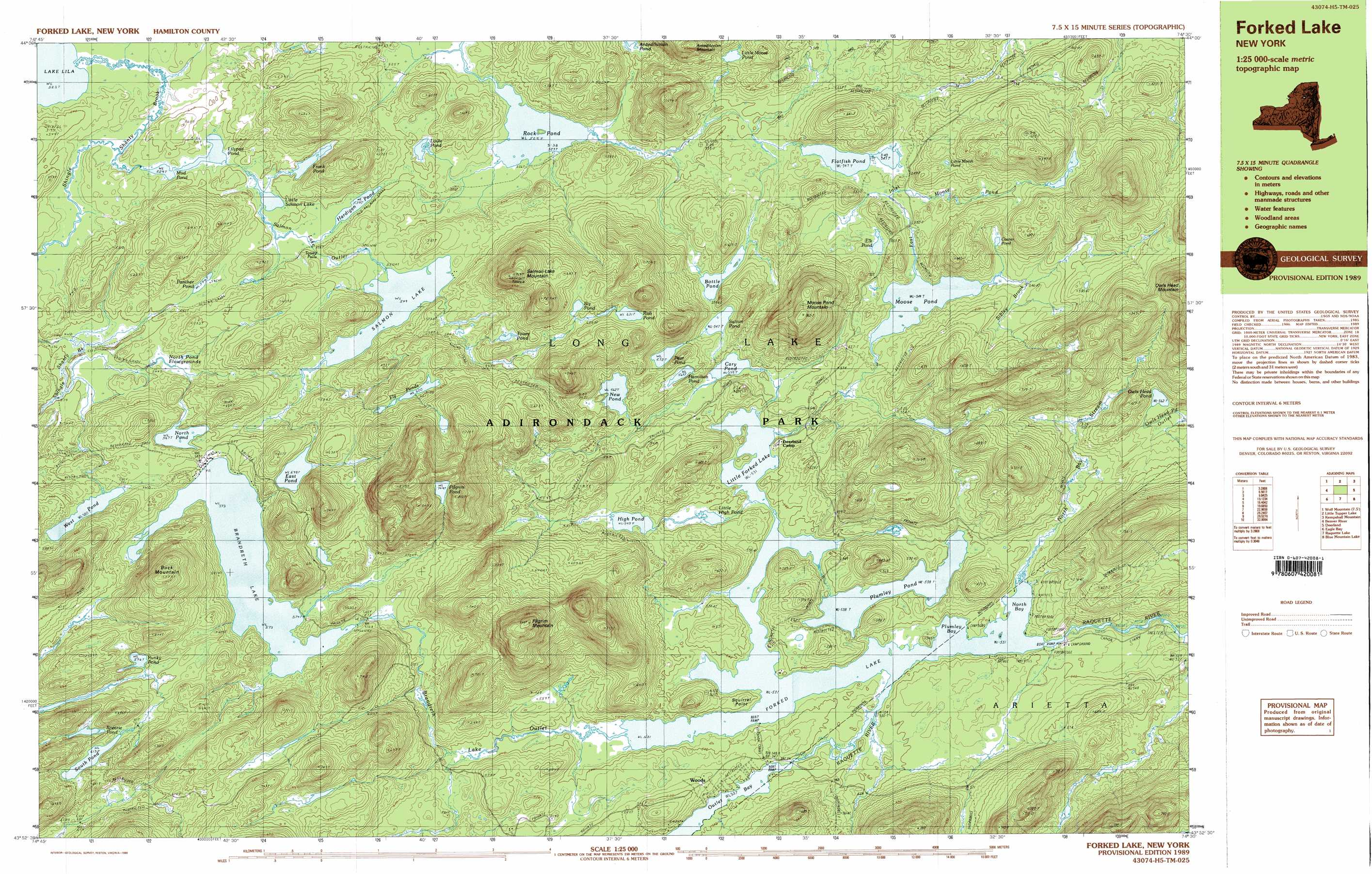 Forked Lake Topographic Map Ny Usgs Topo Quad 43074h5