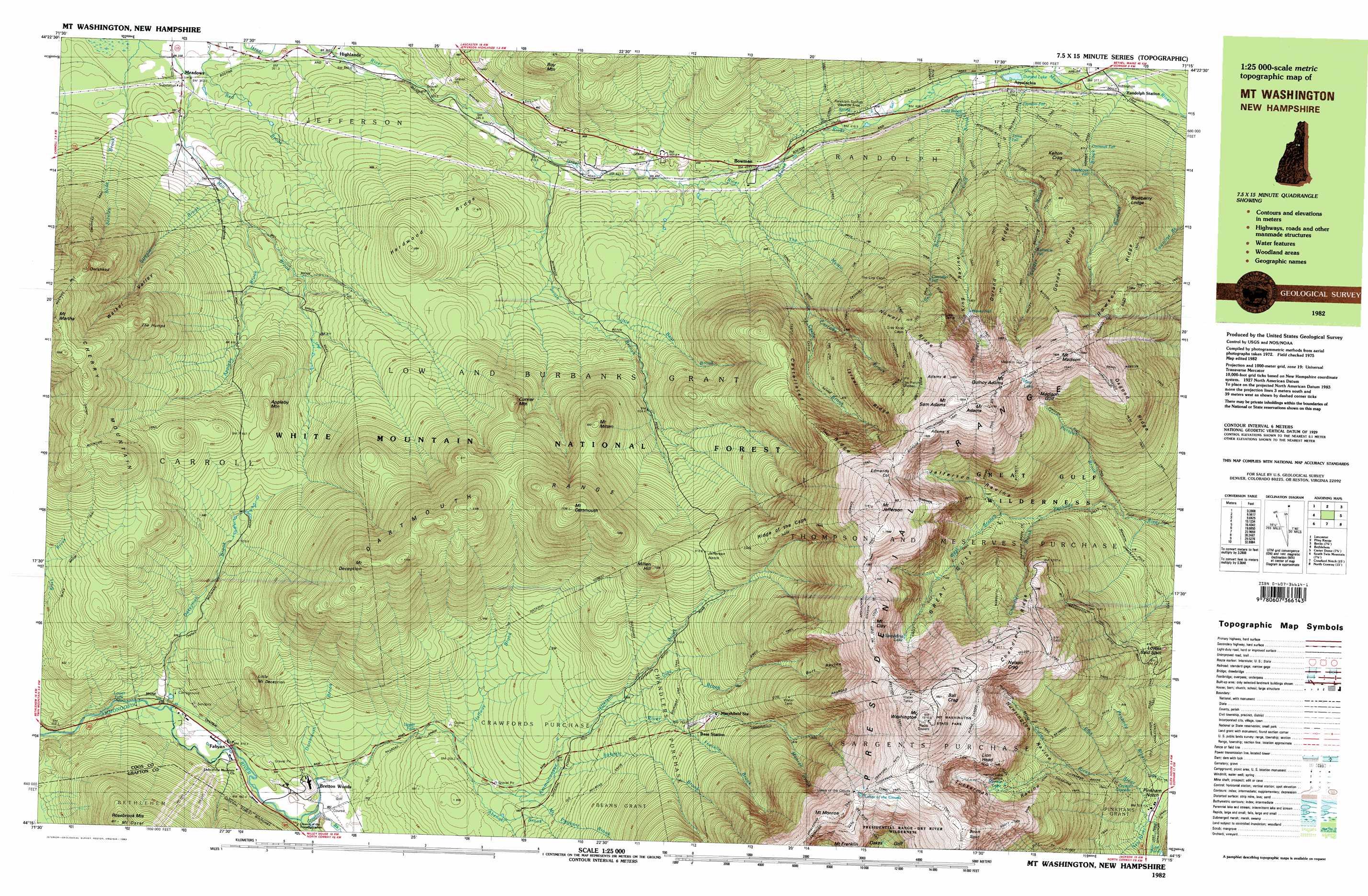Mount Washington Topographic Map NH USGS Topo Quad C - Topographic map of us mountain ranges
