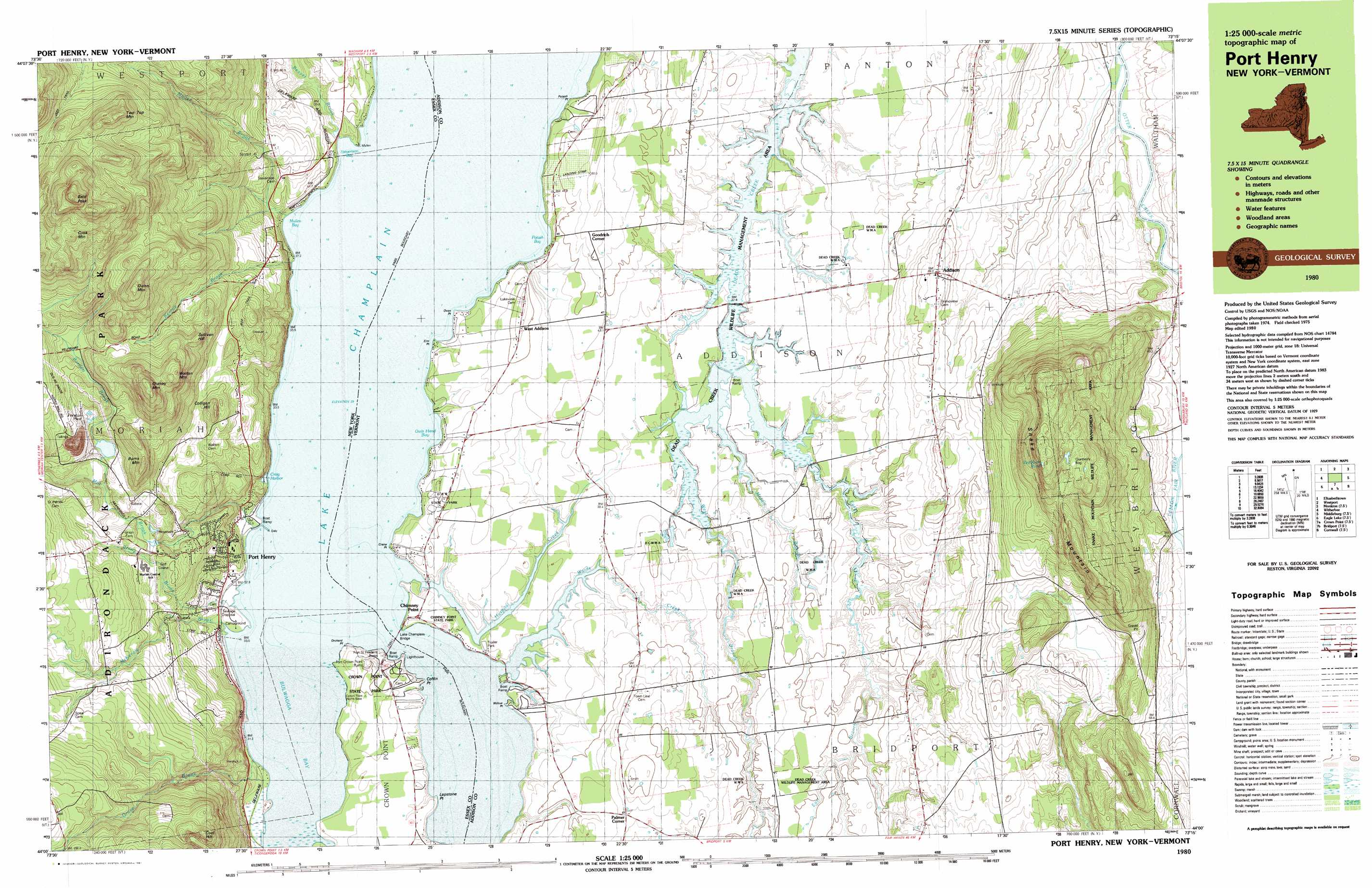 Snake Mountain Topographic Map VT USGS Topo Quad A - New york vermont map