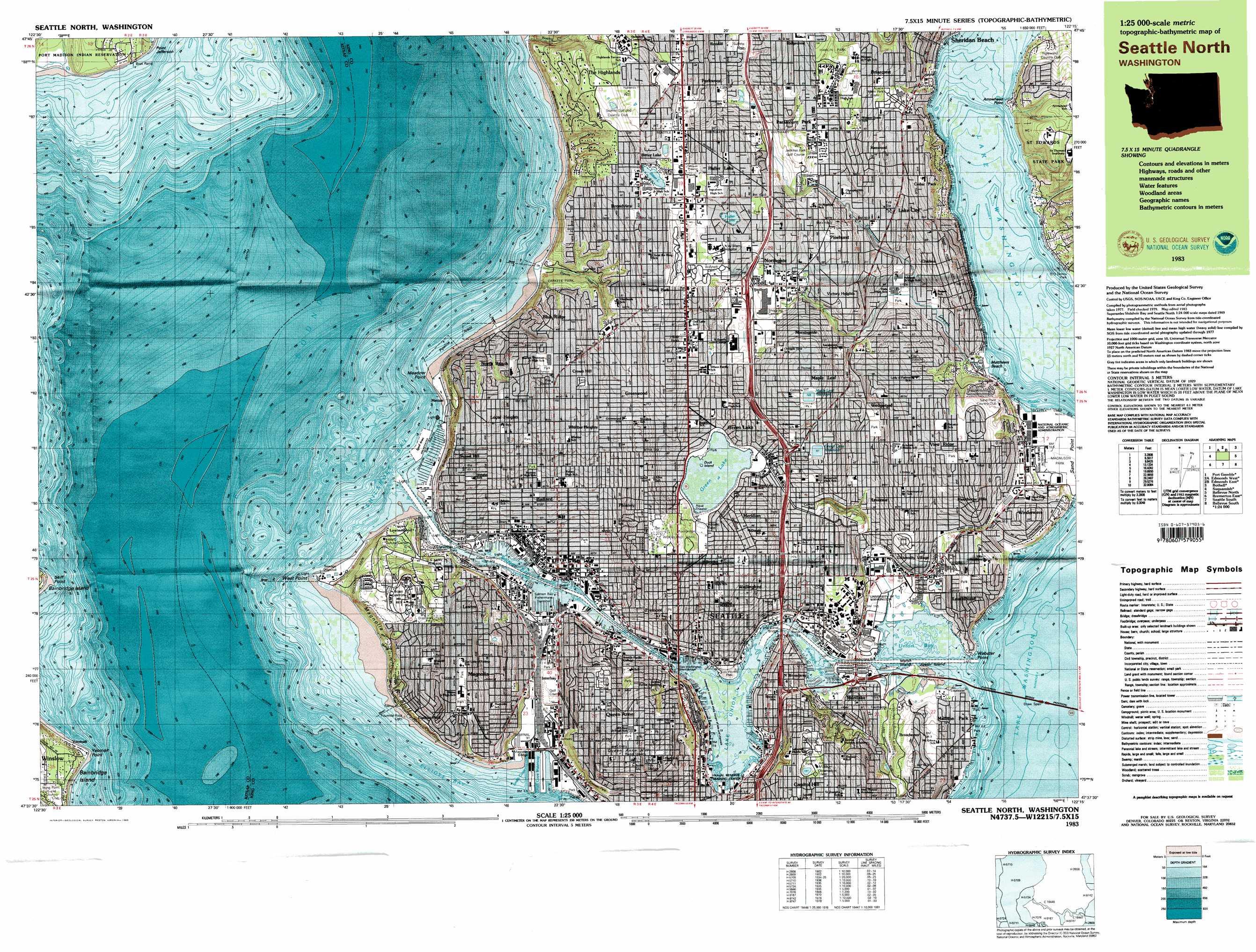 Topographic Map Seattle Seattle North topographic map, WA   USGS Topo Quad 47122f3