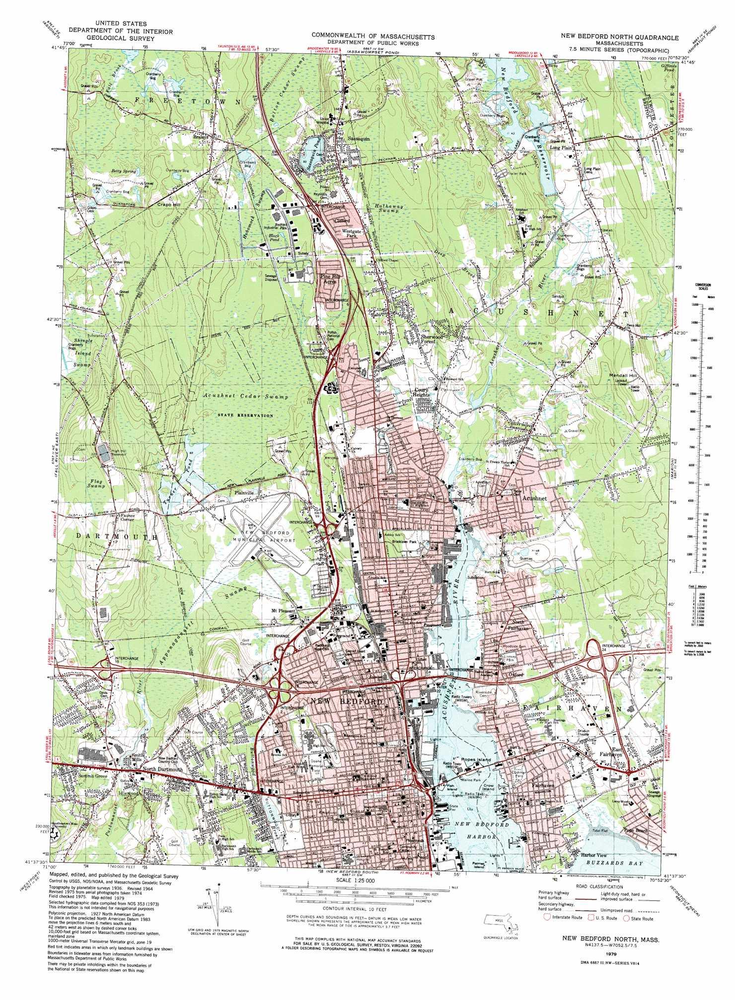 New Bedford North topographic map MA USGS Topo Quad 41070f8